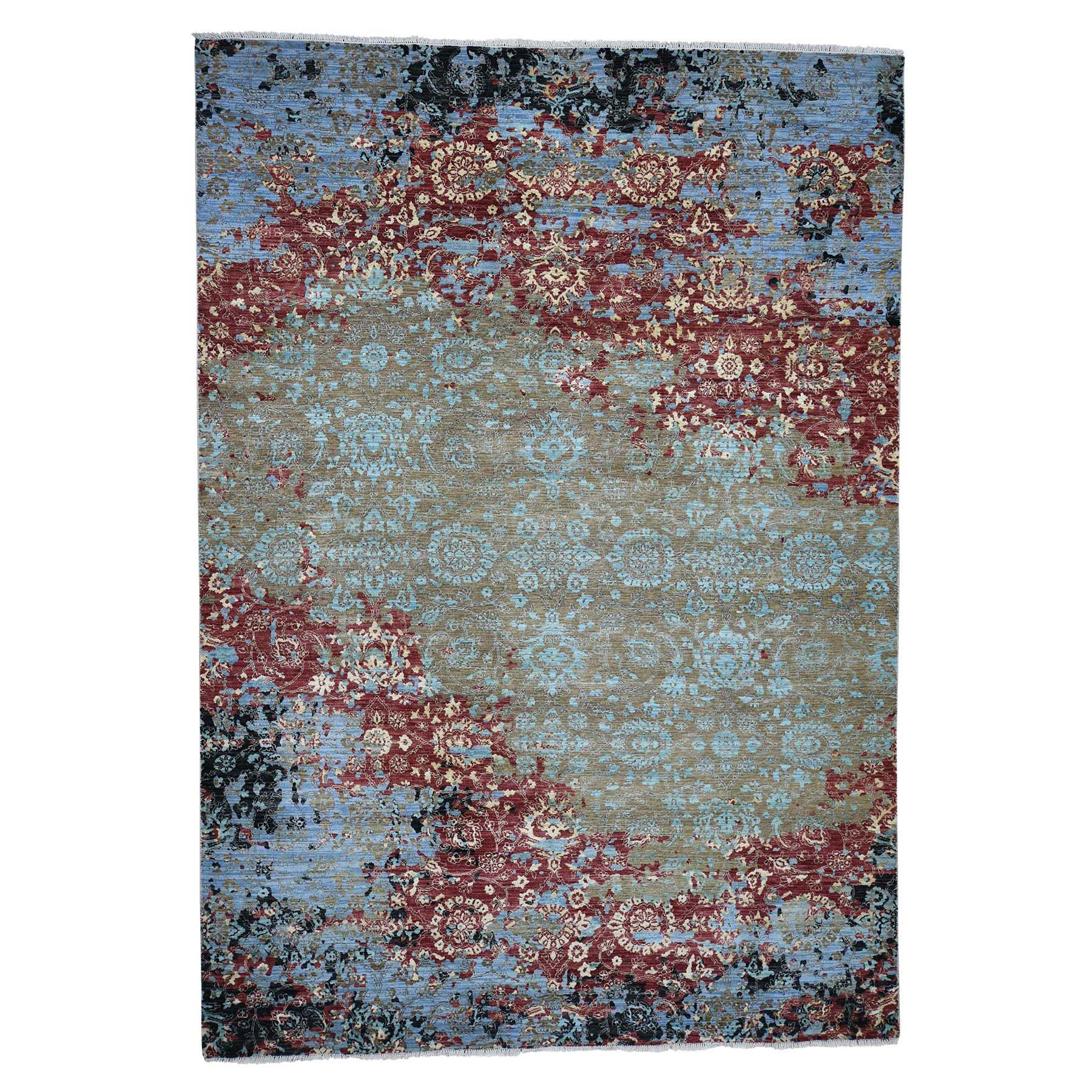 "9'X12'10"" Modern Broken Pattern Transitional Design Hand Knotted Oriental Rug moadac0b"