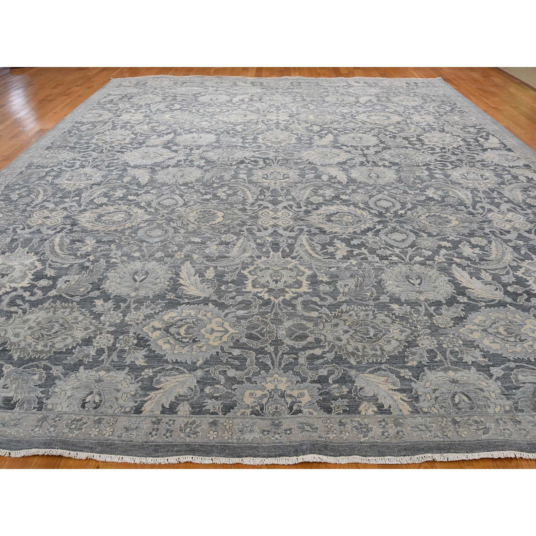 12-x15-10  Hand-Knotted Oushak Influence Silk with Oxidized Wool Oriental Rug