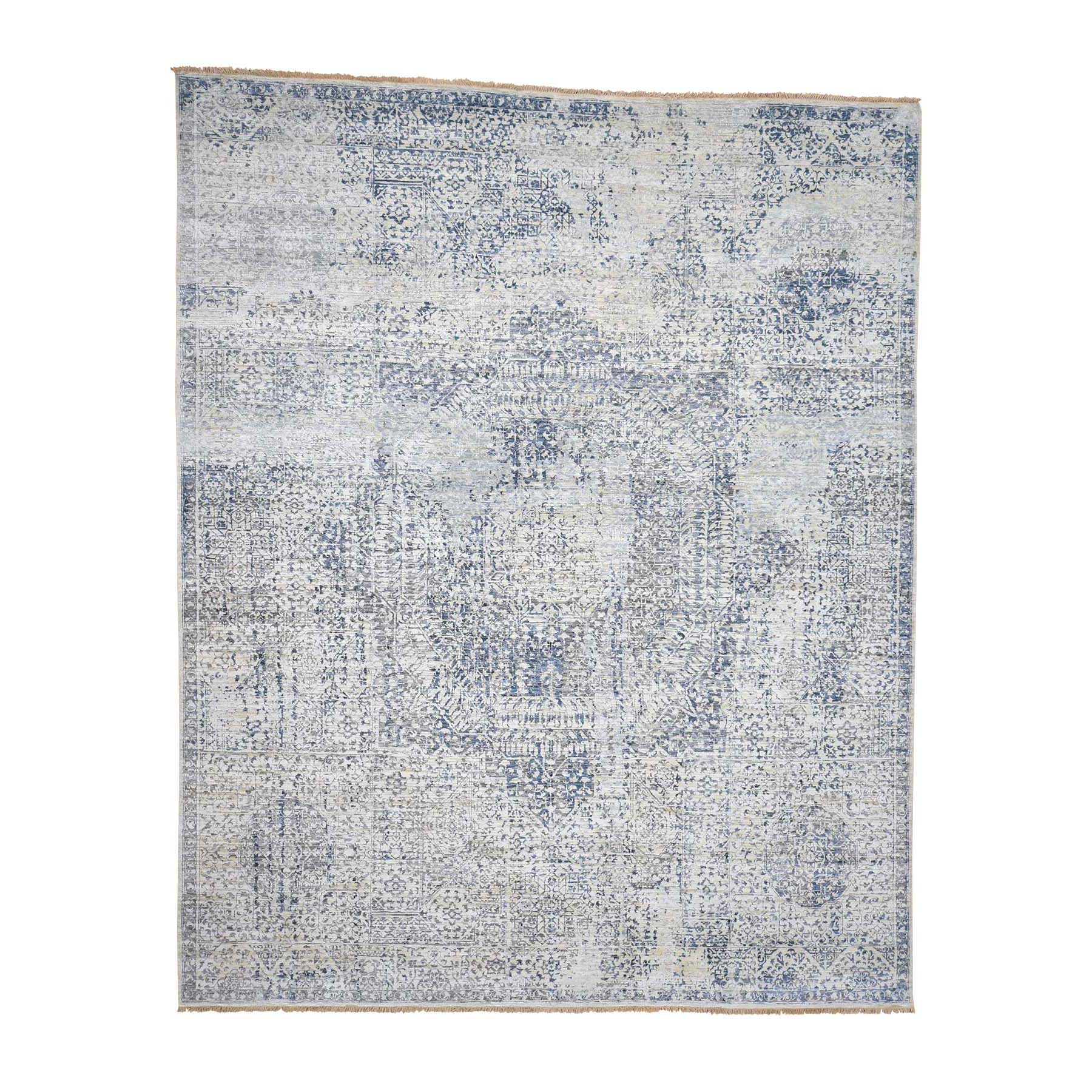 "8'3""X10'2"" Pure Silk With Oxidized Wool Vintage Hand Knotted Mamluk Rug moadaca7"