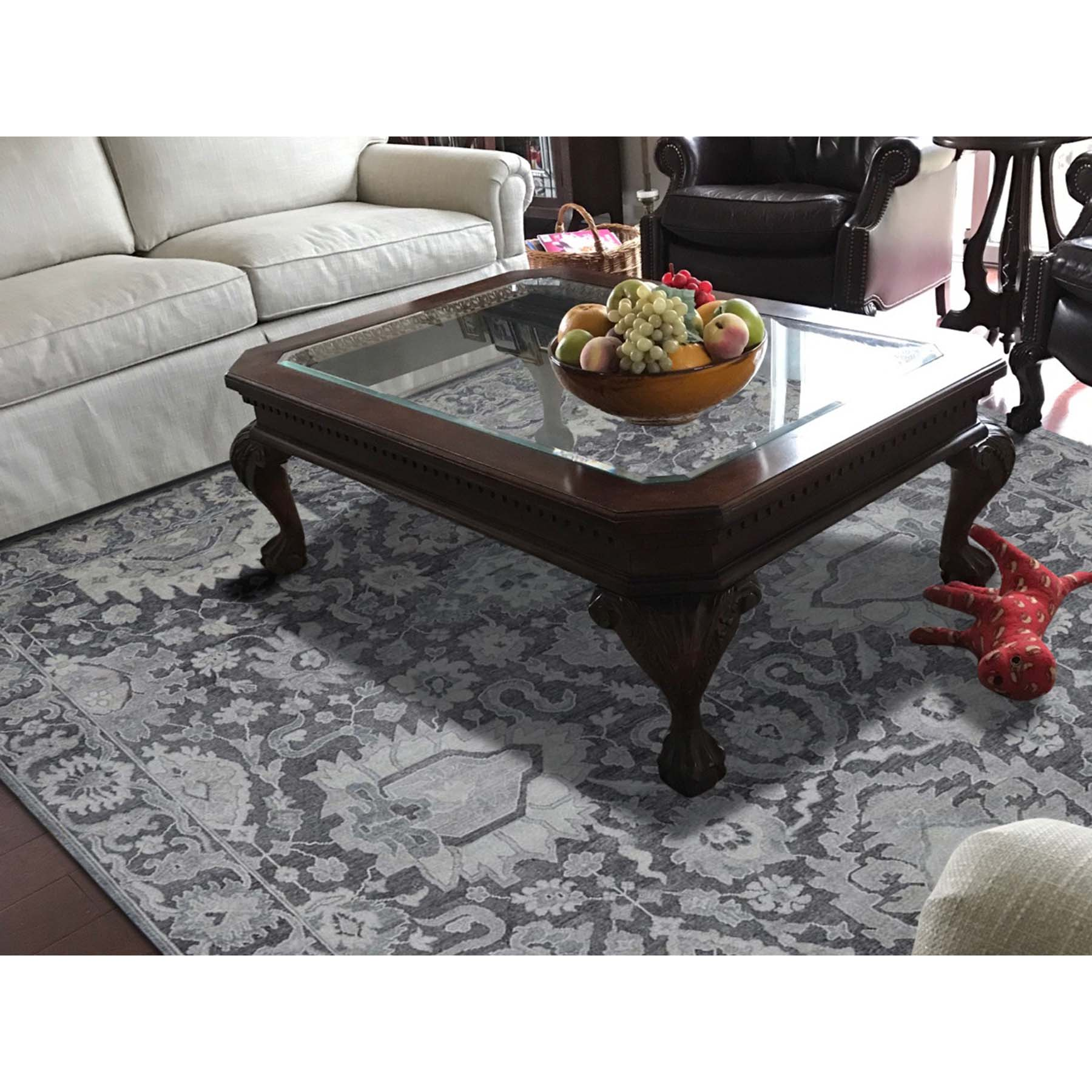 7-9 x10- Hand-Knotted Oushak Influence Silk with Oxidized Wool Oriental Rug