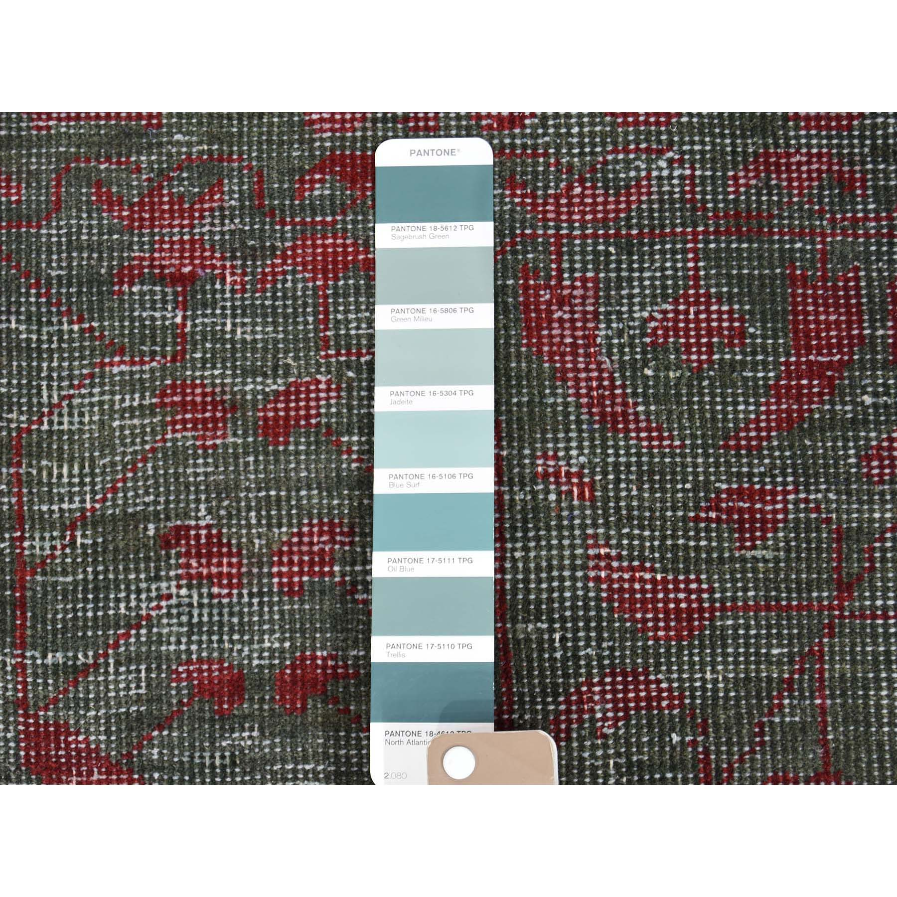 9-6 x13-10  Vintage Look Mamluk Zero Pile Shaved Low Worn Wool Rug