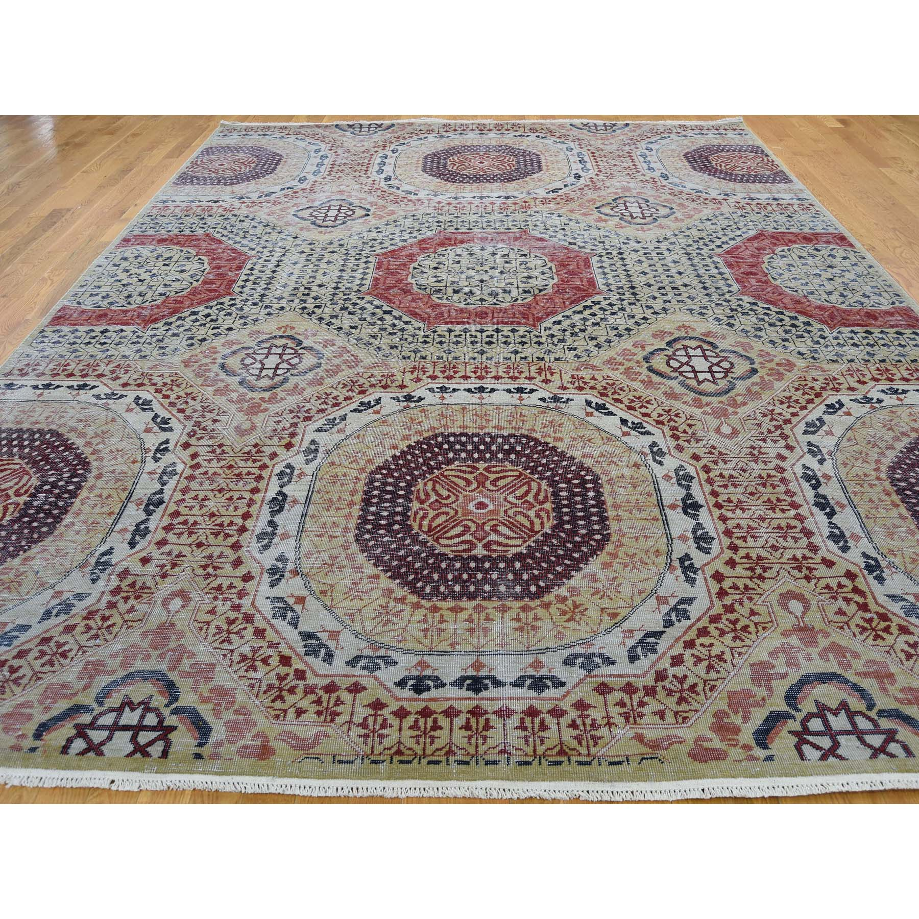 9-x12- Vintage Look Mamluk Zero Pile Shaved Low Worn Wool Rug
