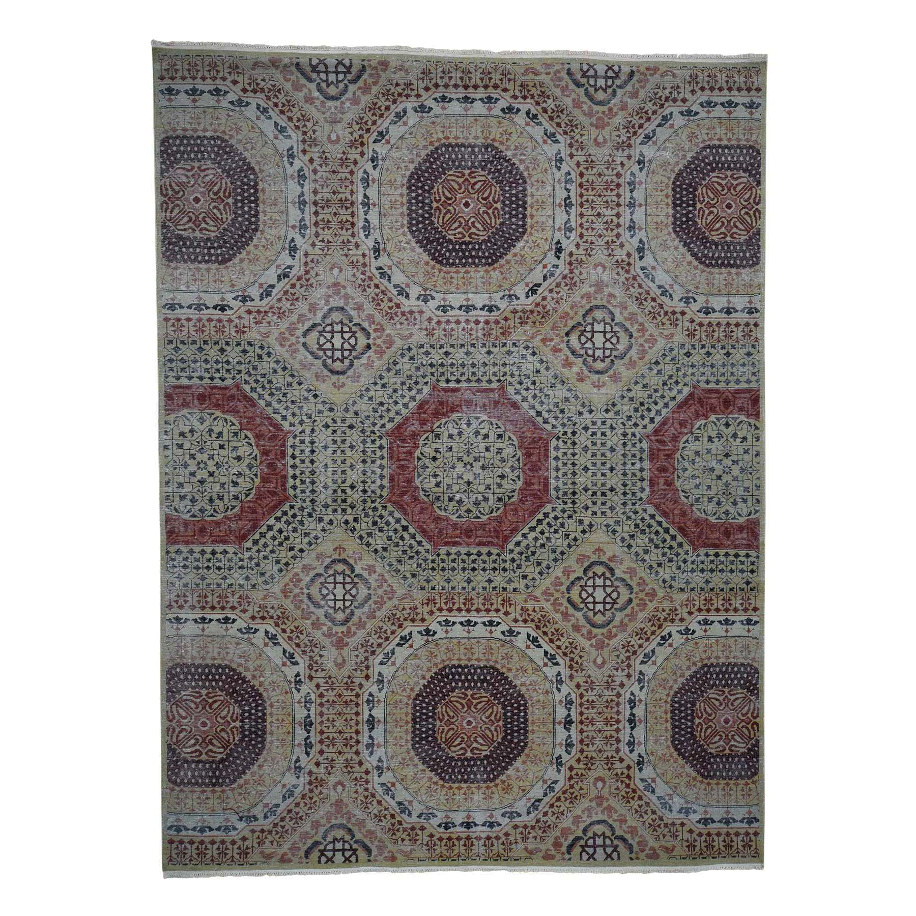 "10'x13'8"" Vintage Look Mamluk Zero Pile Shaved Low Worn Wool Rug"