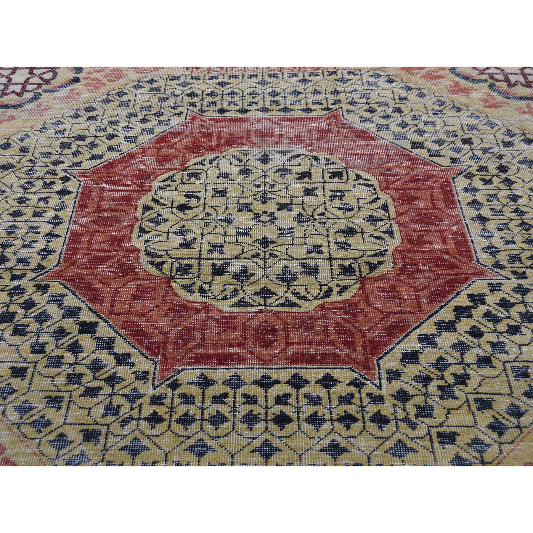 10-x13-8  Vintage Look Mamluk Zero Pile Shaved Low Worn Wool Rug