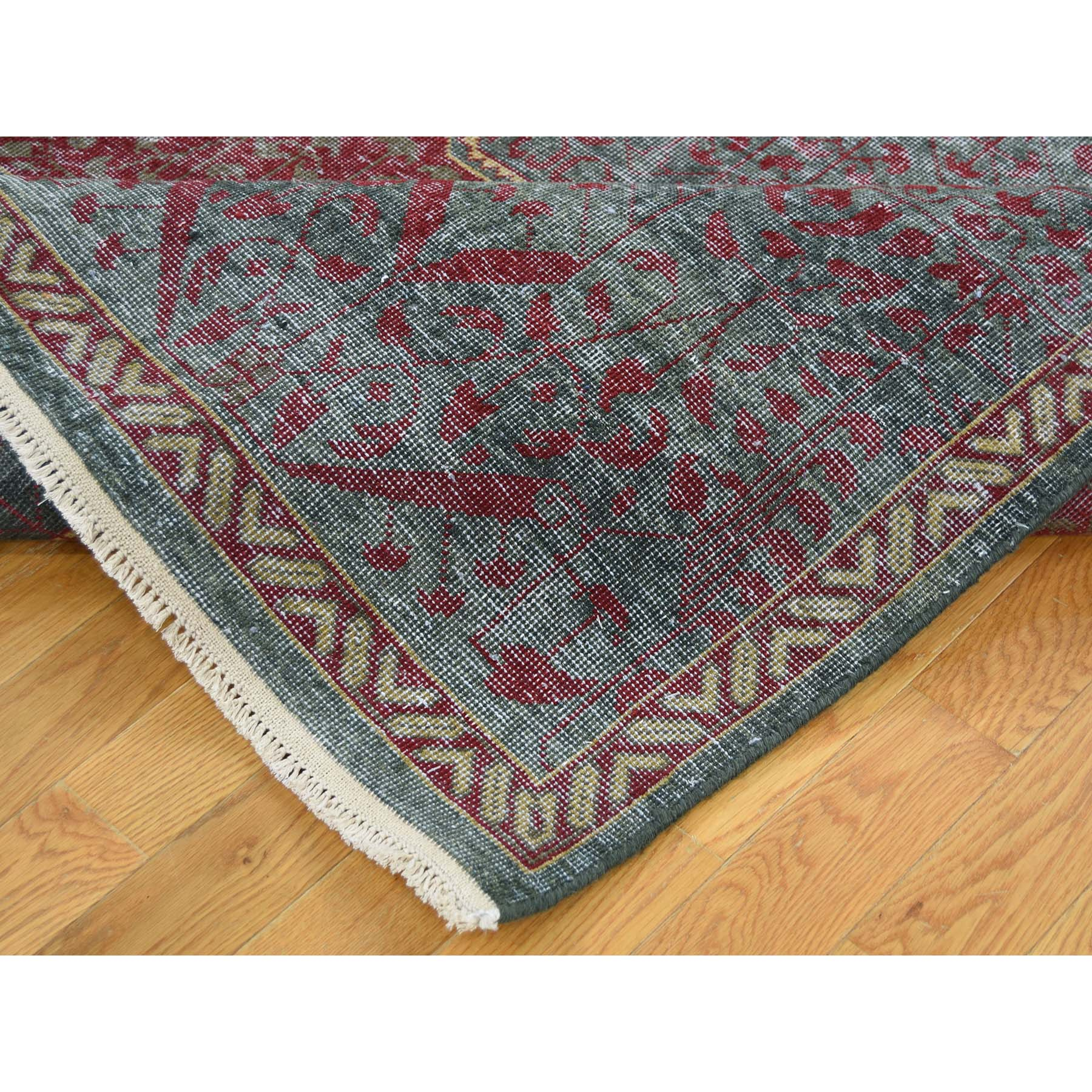 6-x9- Vintage Look Mamluk Zero Pile Shaved Low Worn Wool Rug