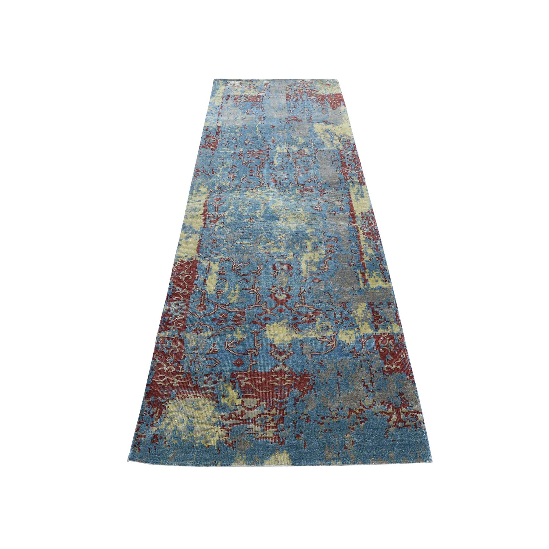 "2'5""X8' Hand-Knotted Silk With Oxidized Wool Broken Design Rug moadac77"