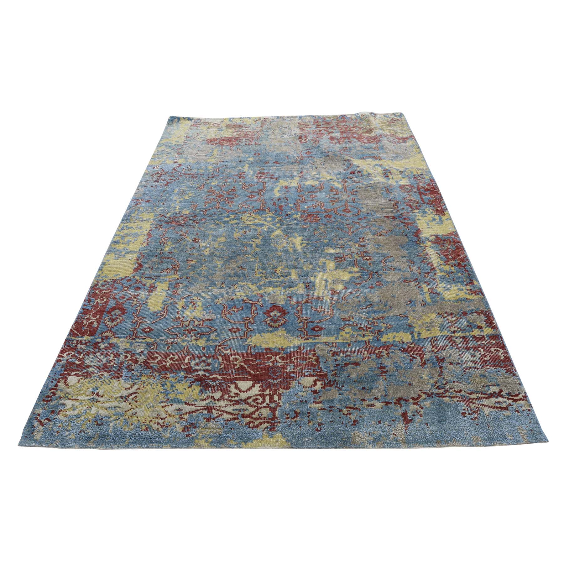 "3'10""X5'10"" Hand-Knotted Silk With Oxidized Wool Broken Design Rug moadac79"