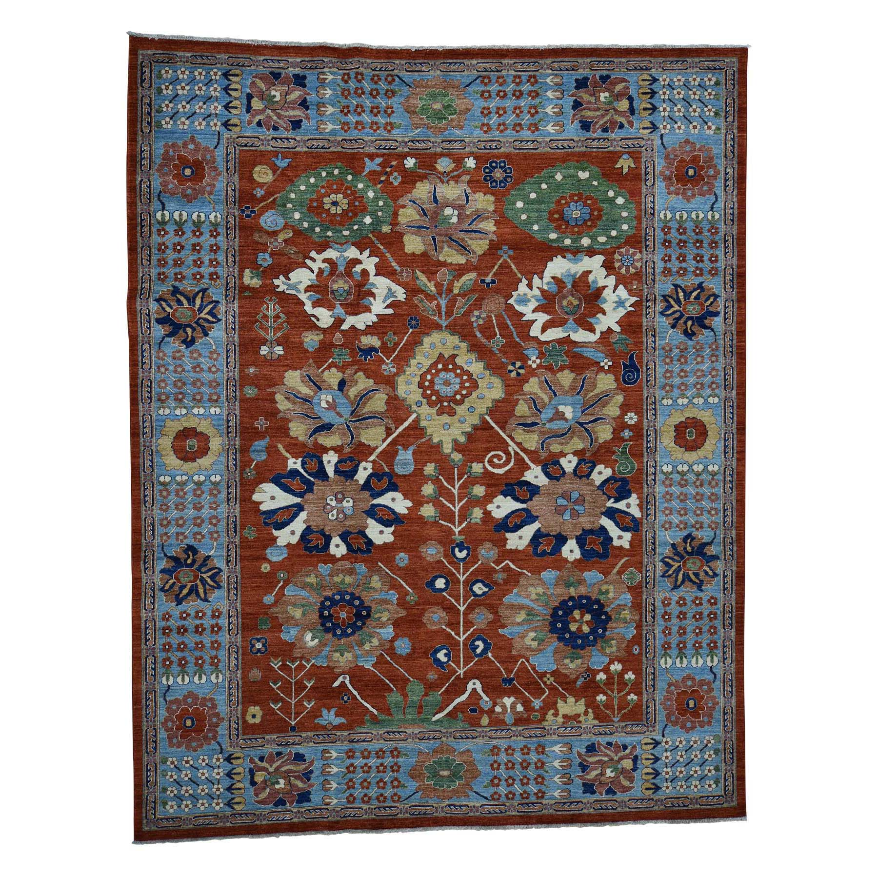 "9'4""X 11'9' Hand-Knotted Peshawar Mahal Design With Wide Border Oriental Rug moadac8b"