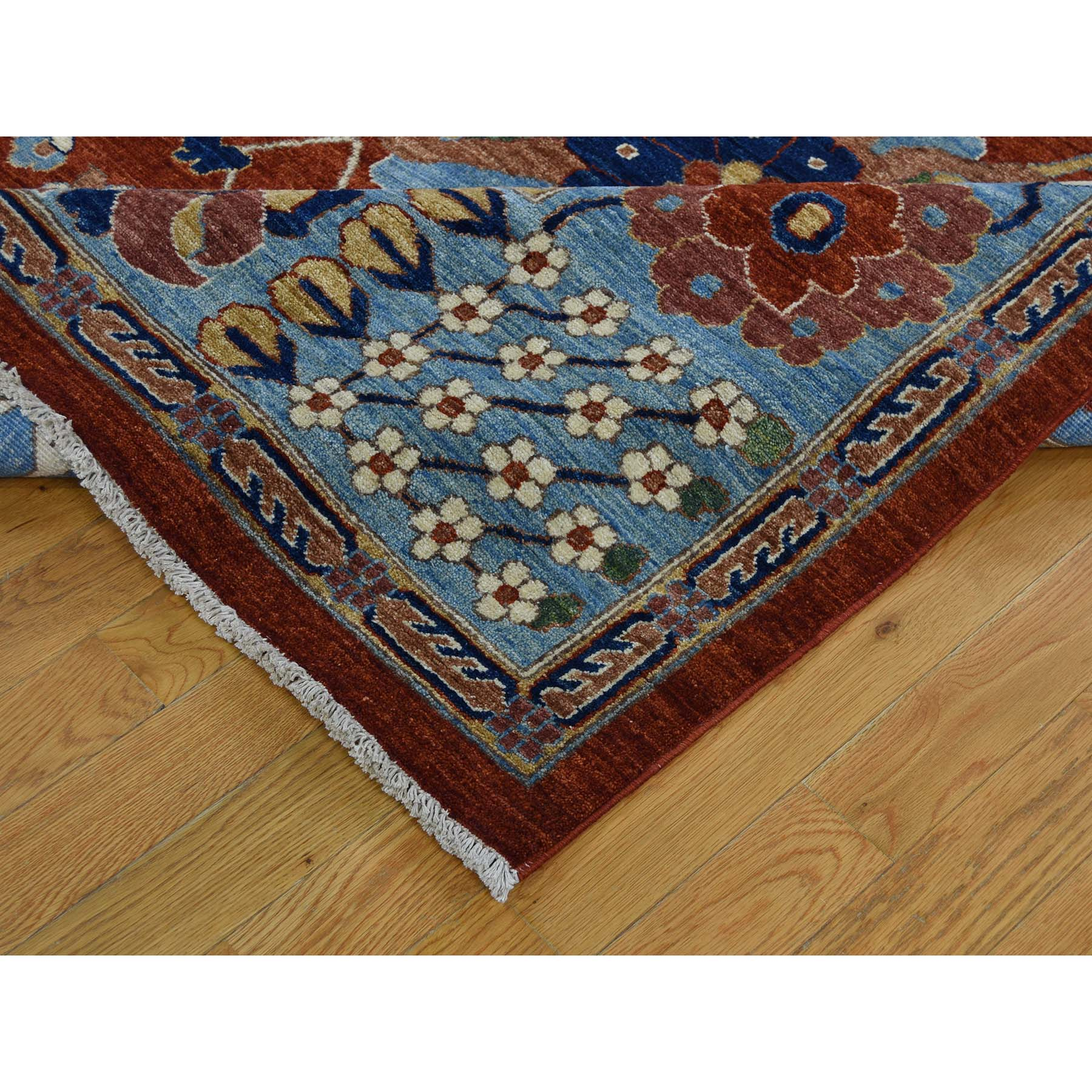 9-4 x 11-9- Hand-Knotted Peshawar Mahal Design With Wide Border Oriental Rug