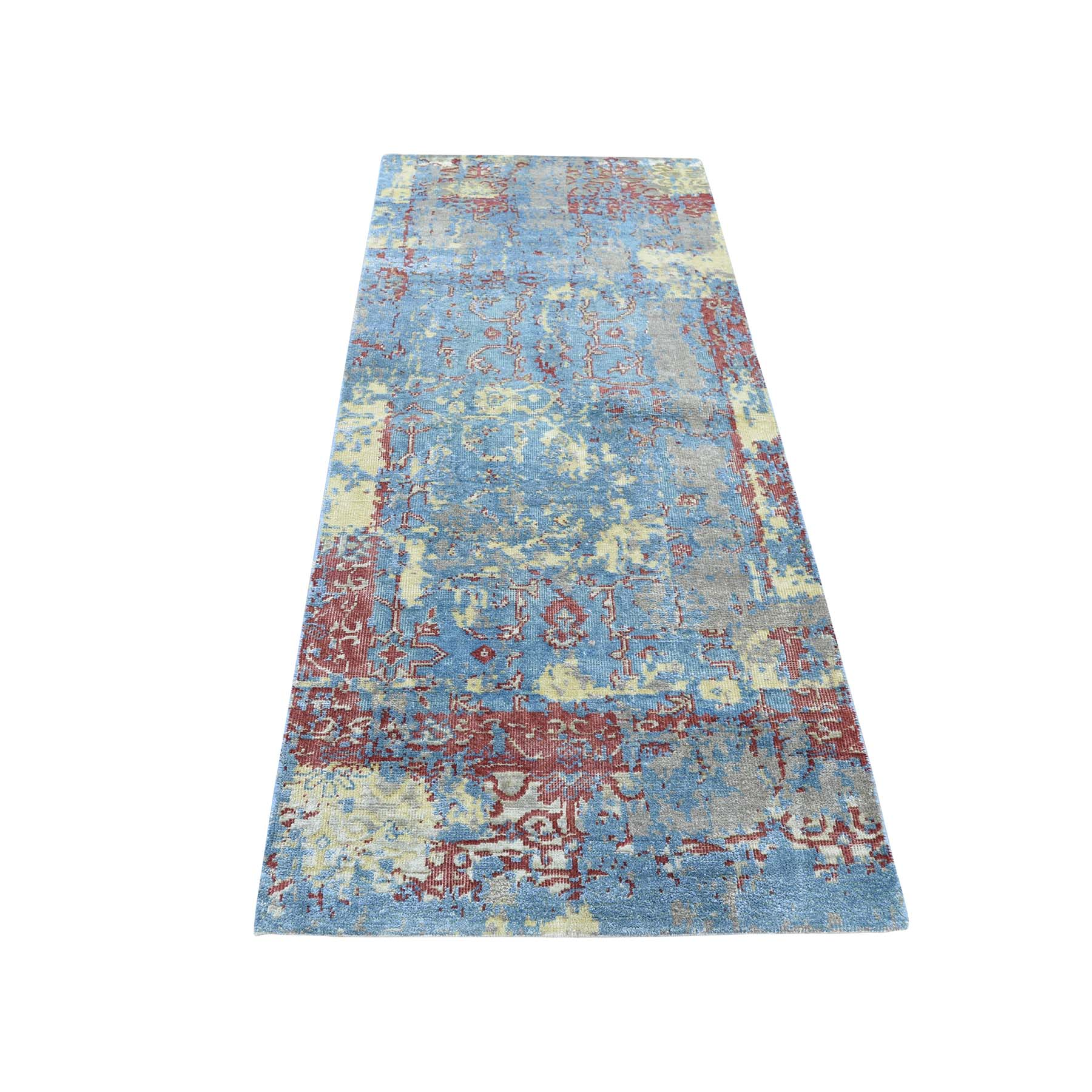 "2'5""X6'1"" Hand-Knotted Silk With Oxidized Wool Broken Design Runner Rug moadac8e"