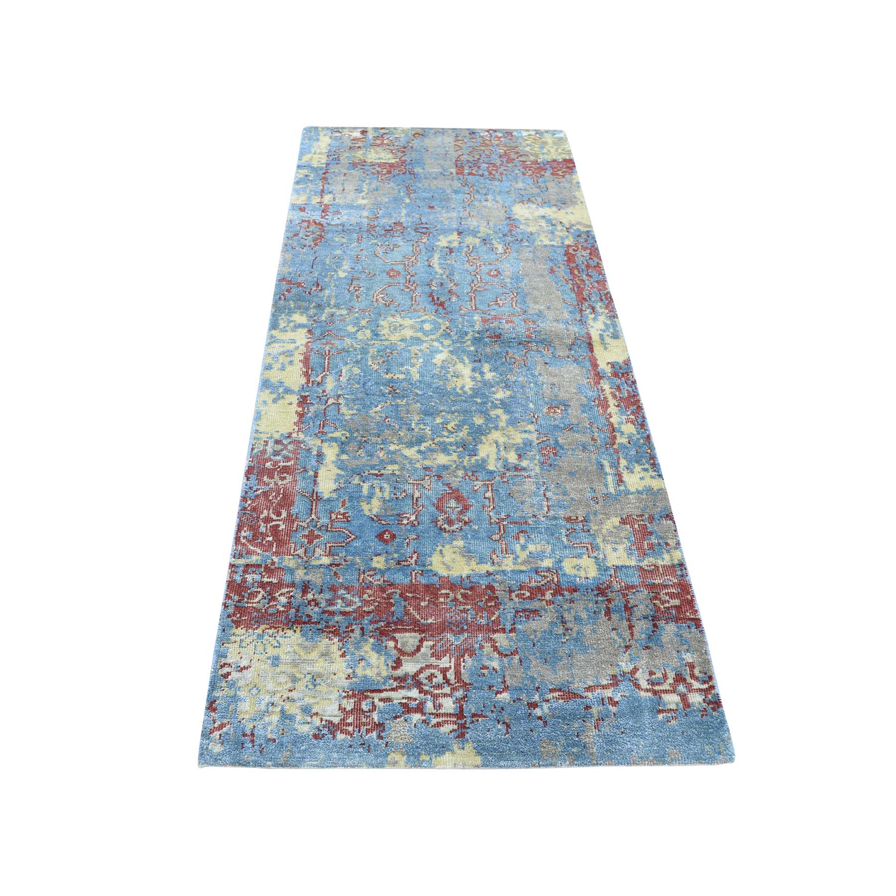 "2'5""X6' Hand-Knotted Silk With Oxidized Wool Broken Design Runner Rug moadac86"