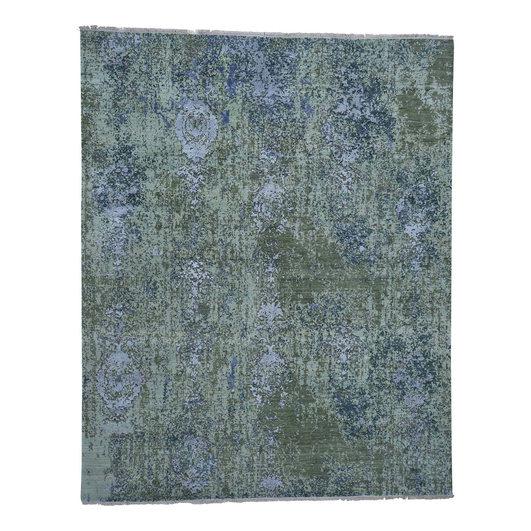 "8'1""X10' Pure Silk Modern Abstract Design Hand-Knotted Rug moadac9a"