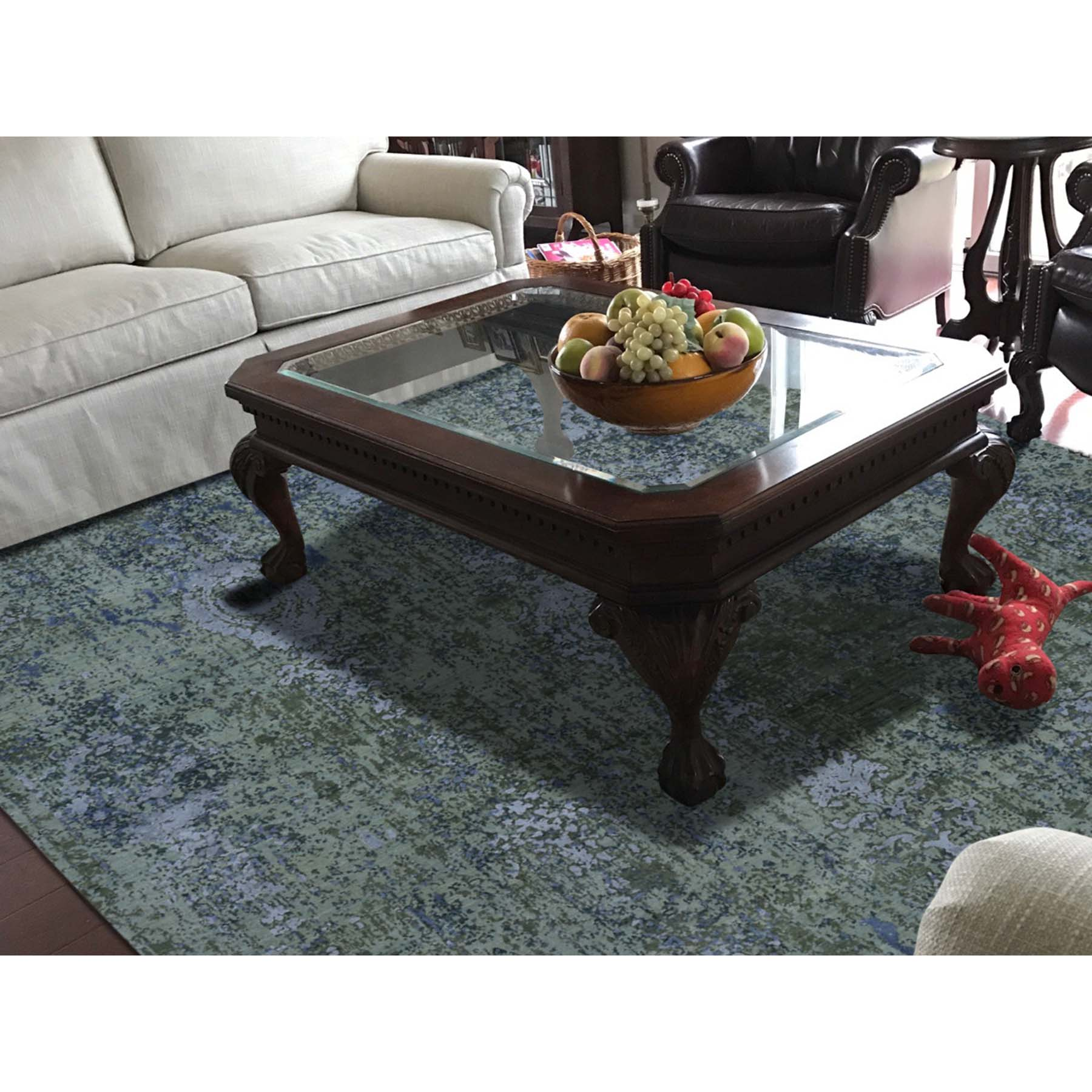 8-1 x10- Pure Silk Modern Abstract Design Hand-Knotted Rug