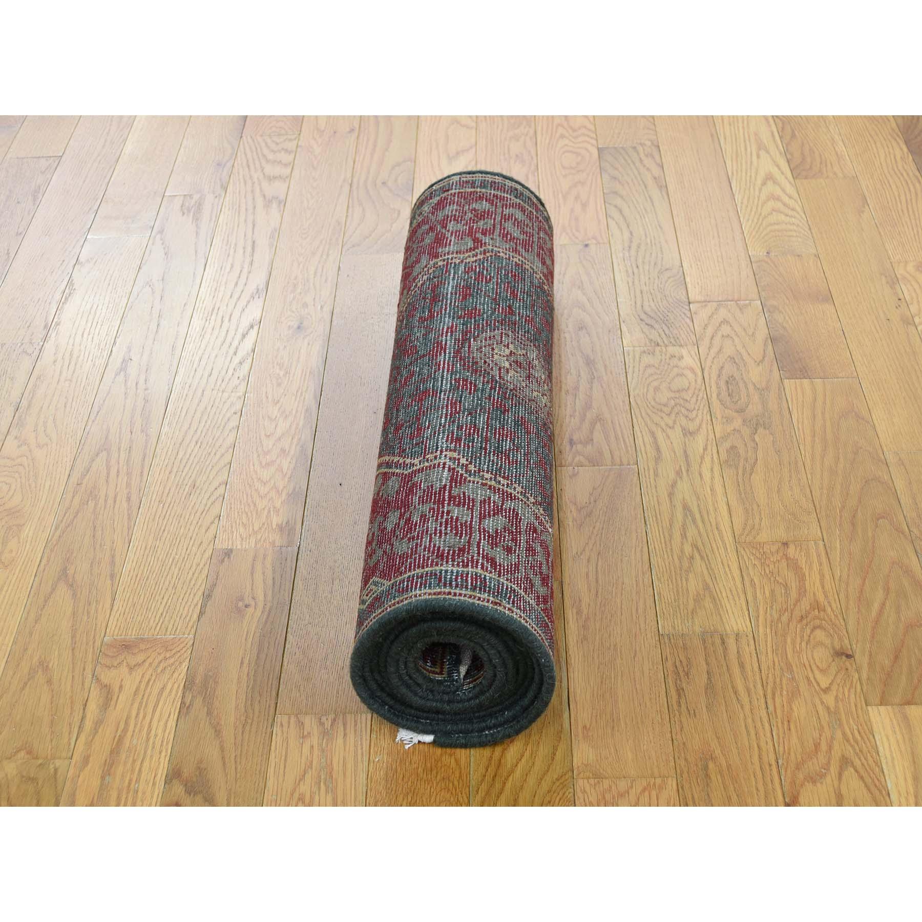 2-6 x8-1  Vintage Look Mamluk Zero Pile Shaved Low Worn Wool Runner Rug