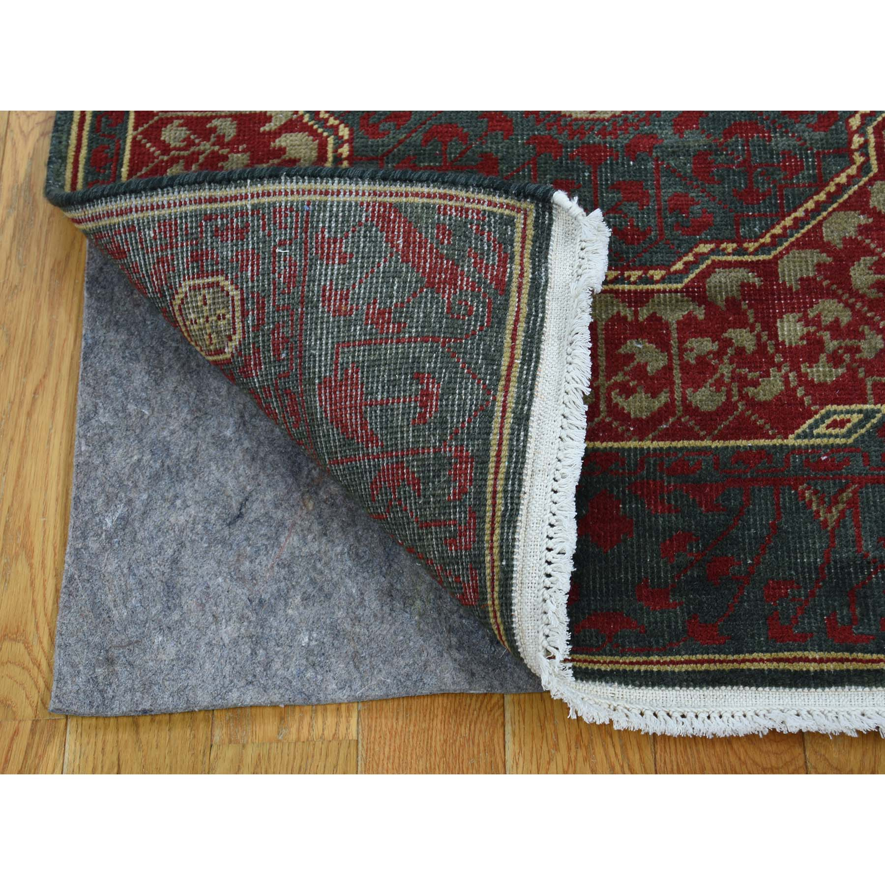 2-5 x10- Vintage Look Mamluk Zero Pile Shaved Low Worn Wool Runner Rug