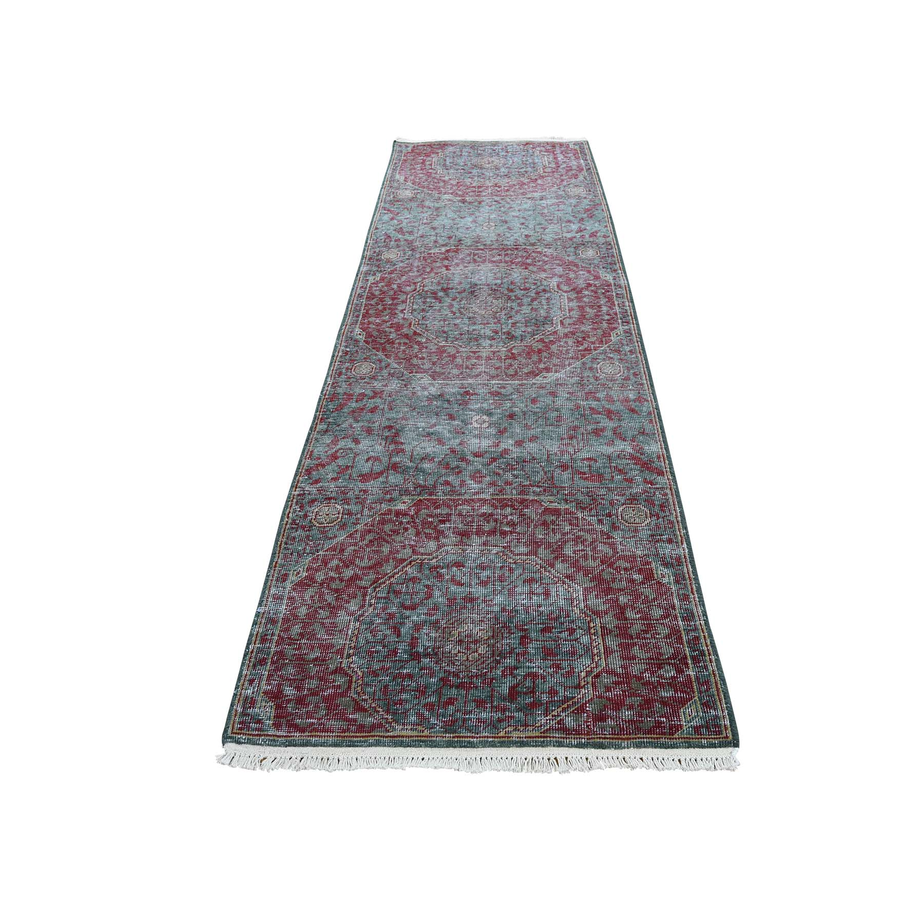 "2'6""X9'10"" Vintage Look Mamluk Zero Pile Shaved Low Worn Wool Runner Rug moadadaa"