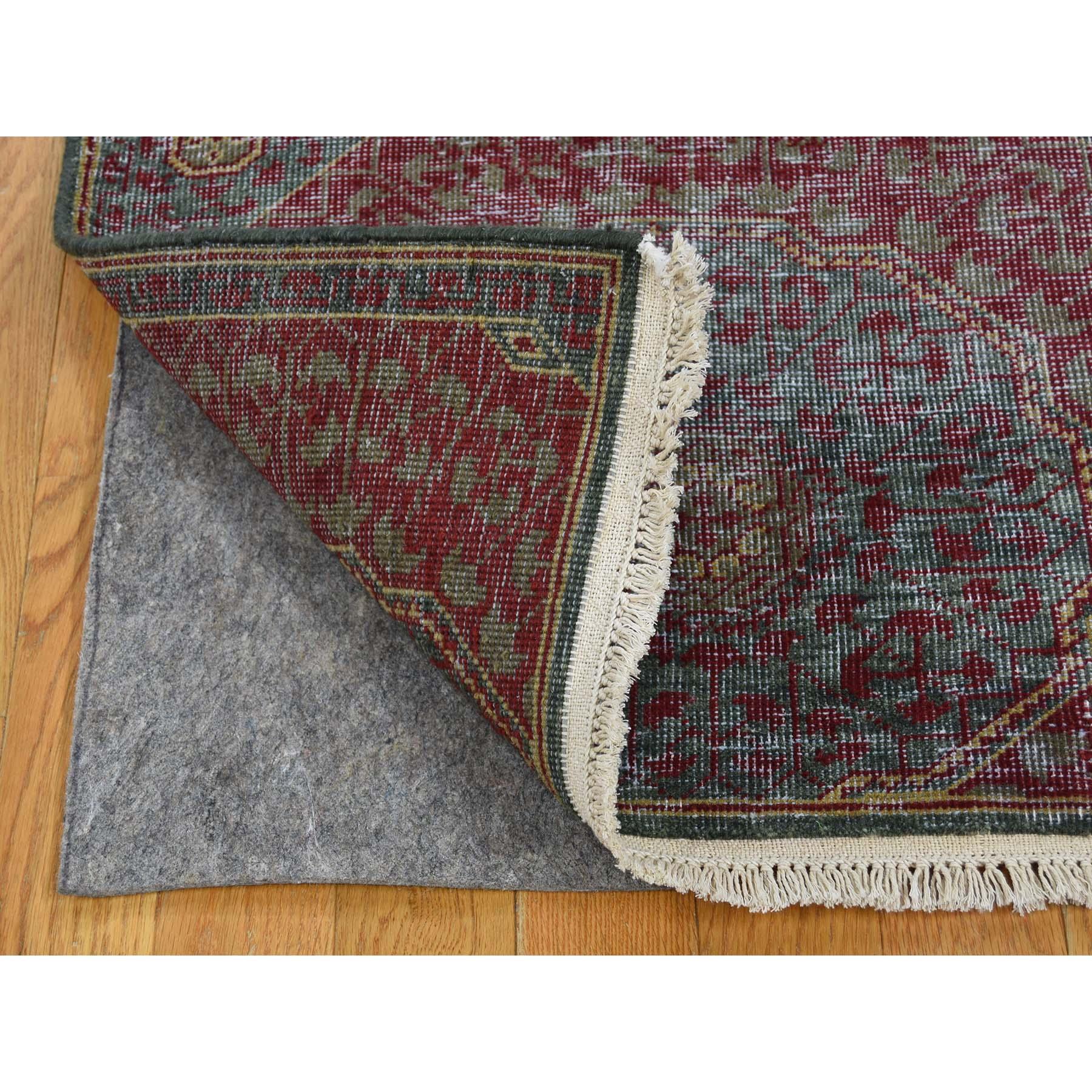 2-6 x9-10  Vintage Look Mamluk Zero Pile Shaved Low Worn Wool Runner Rug