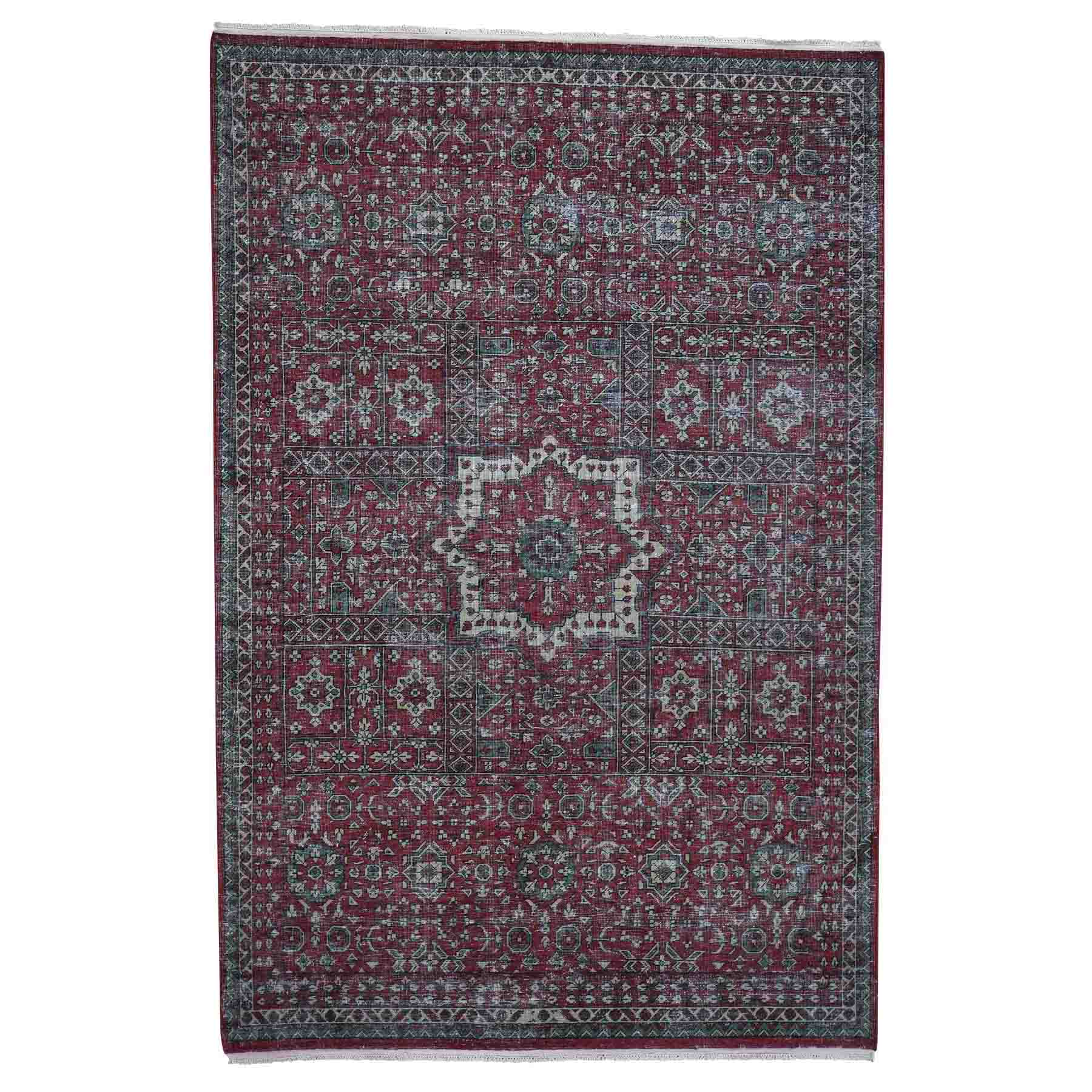 "6'1""X9' Vintage Look Mamluk Zero Pile Shaved Low Worn Wool Rug moadadc0"