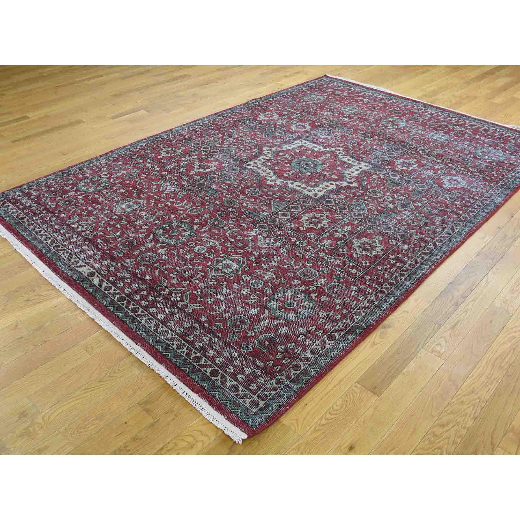 6-1 x9- Vintage Look Mamluk Zero Pile Shaved Low Worn Wool Rug