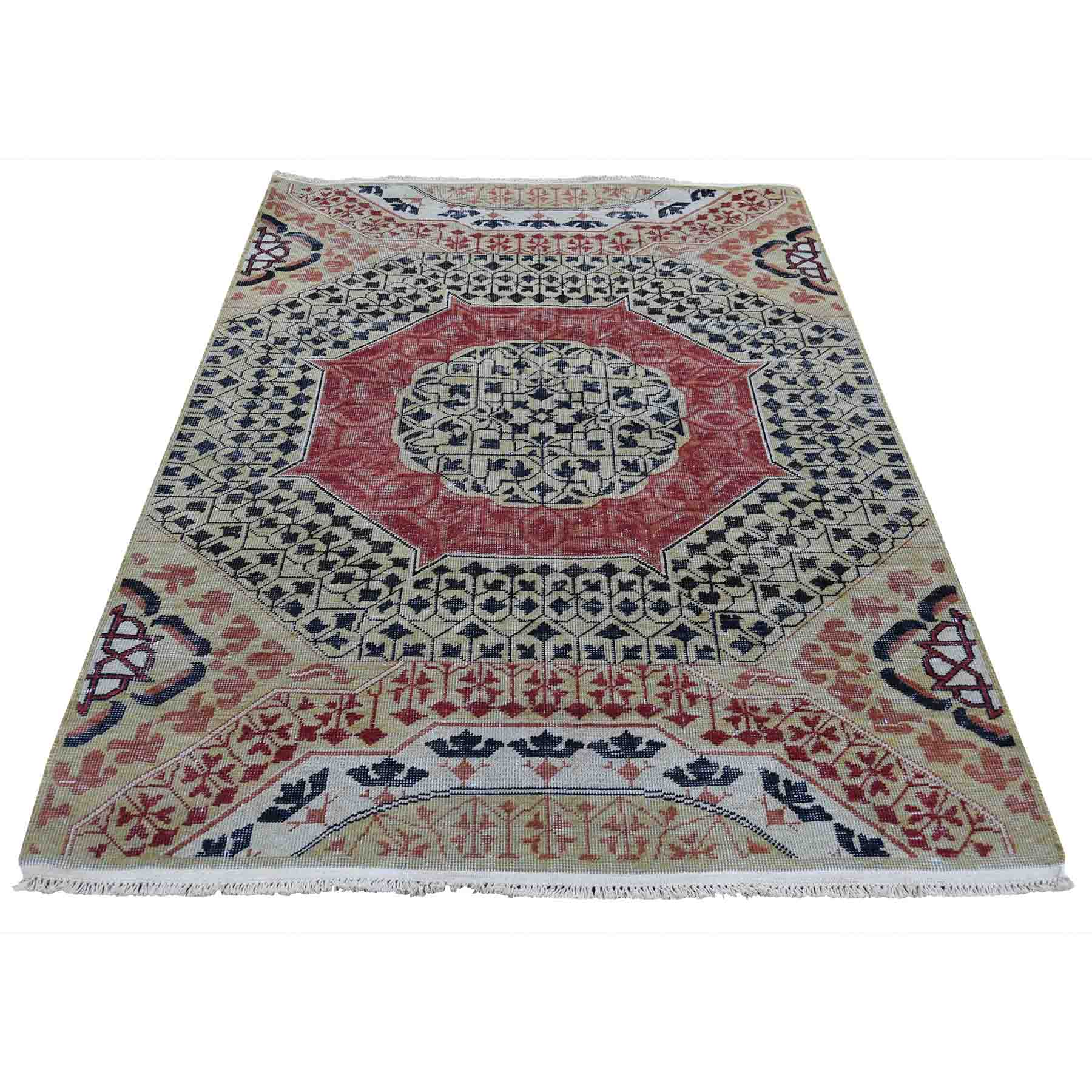 4'x6' Vintage Look Mamluk Zero Pile Shaved Low Worn Wool Rug