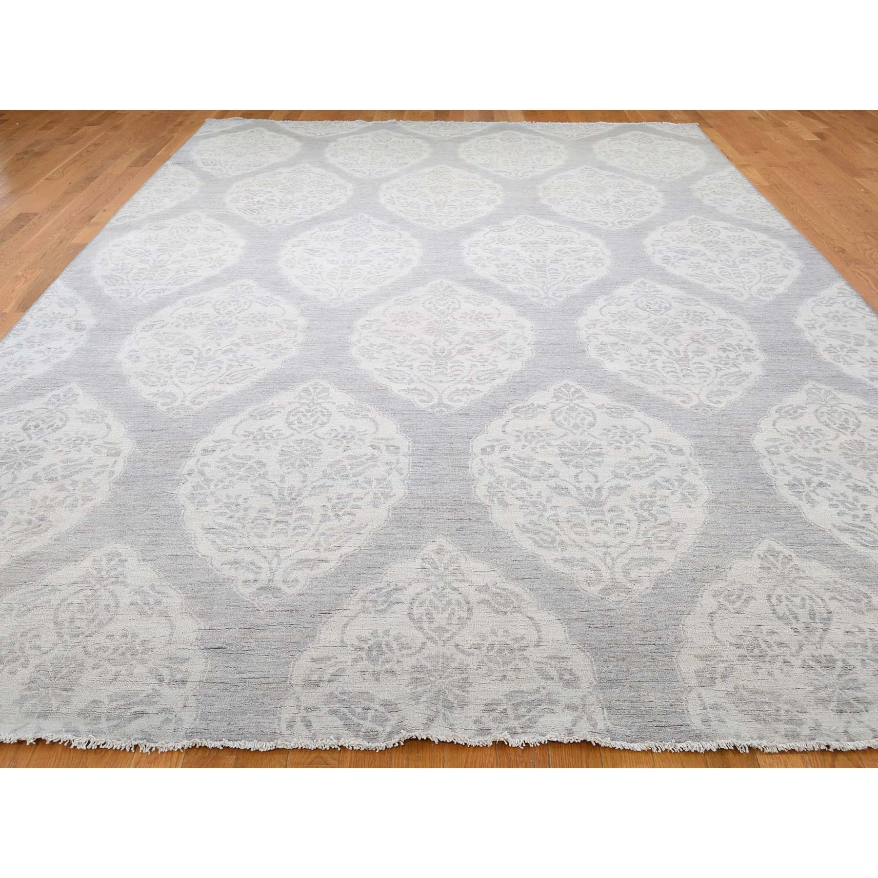 8-8 x13-4  Long And Narrow Peshawar Flower Design Grey Hand-Knotted Oriental Rug