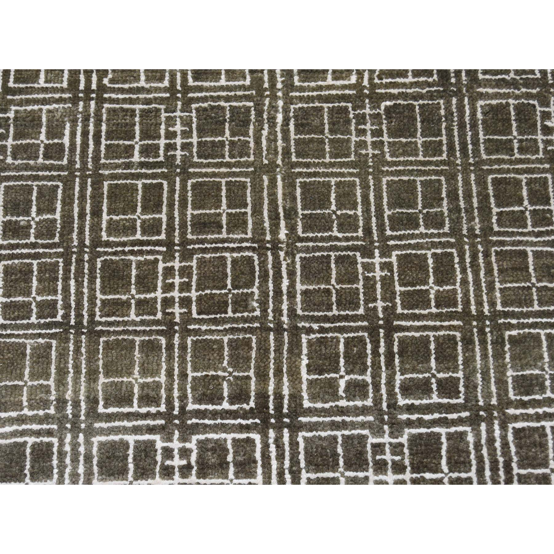 8-1 x9-9  Box Design Wool And Silk Chocolate Brown Hand-Knotted Rug