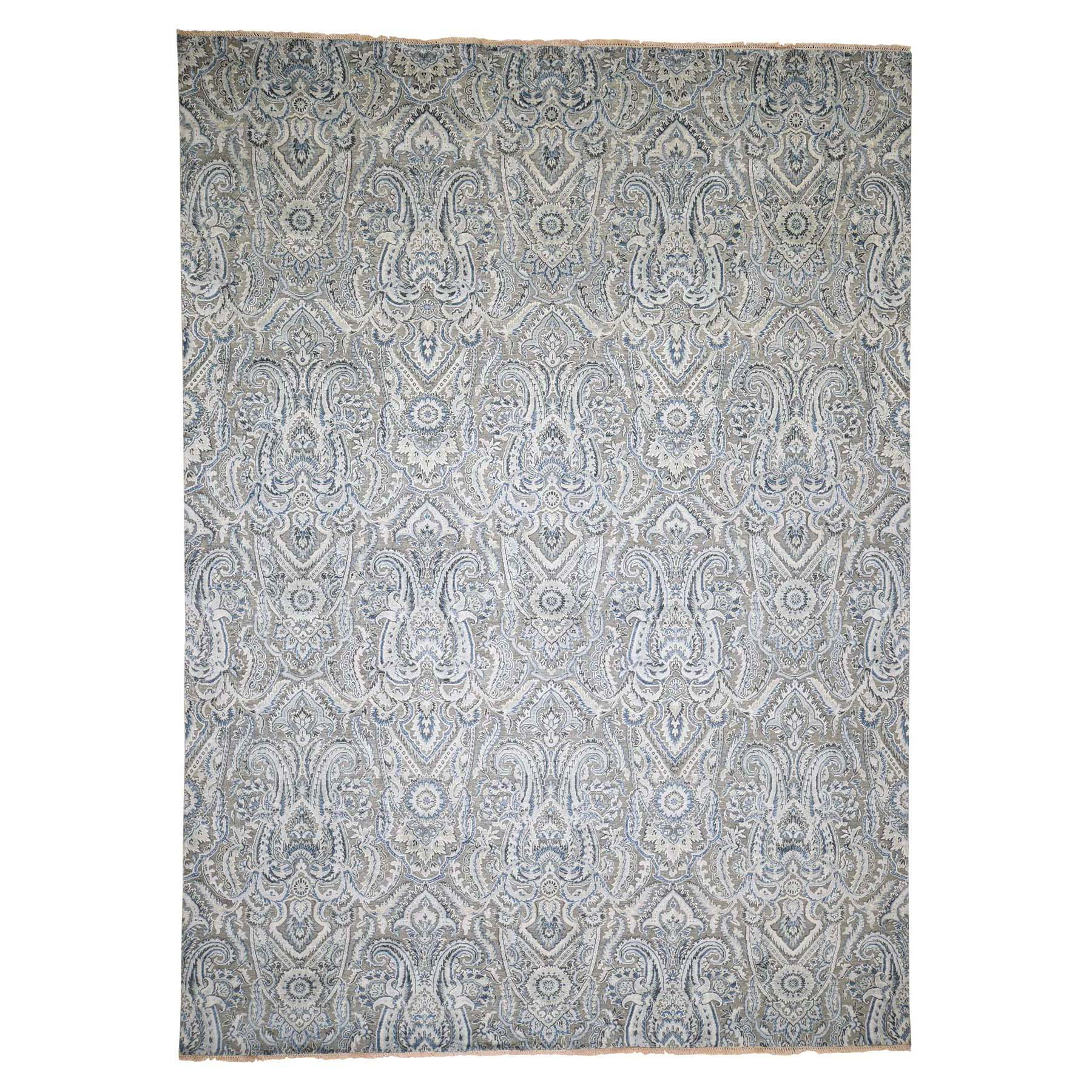 "9'X12'1"" Pure Silk Textured Wool Paisley Flower Design Hand-Knotted Rug moadad8c"