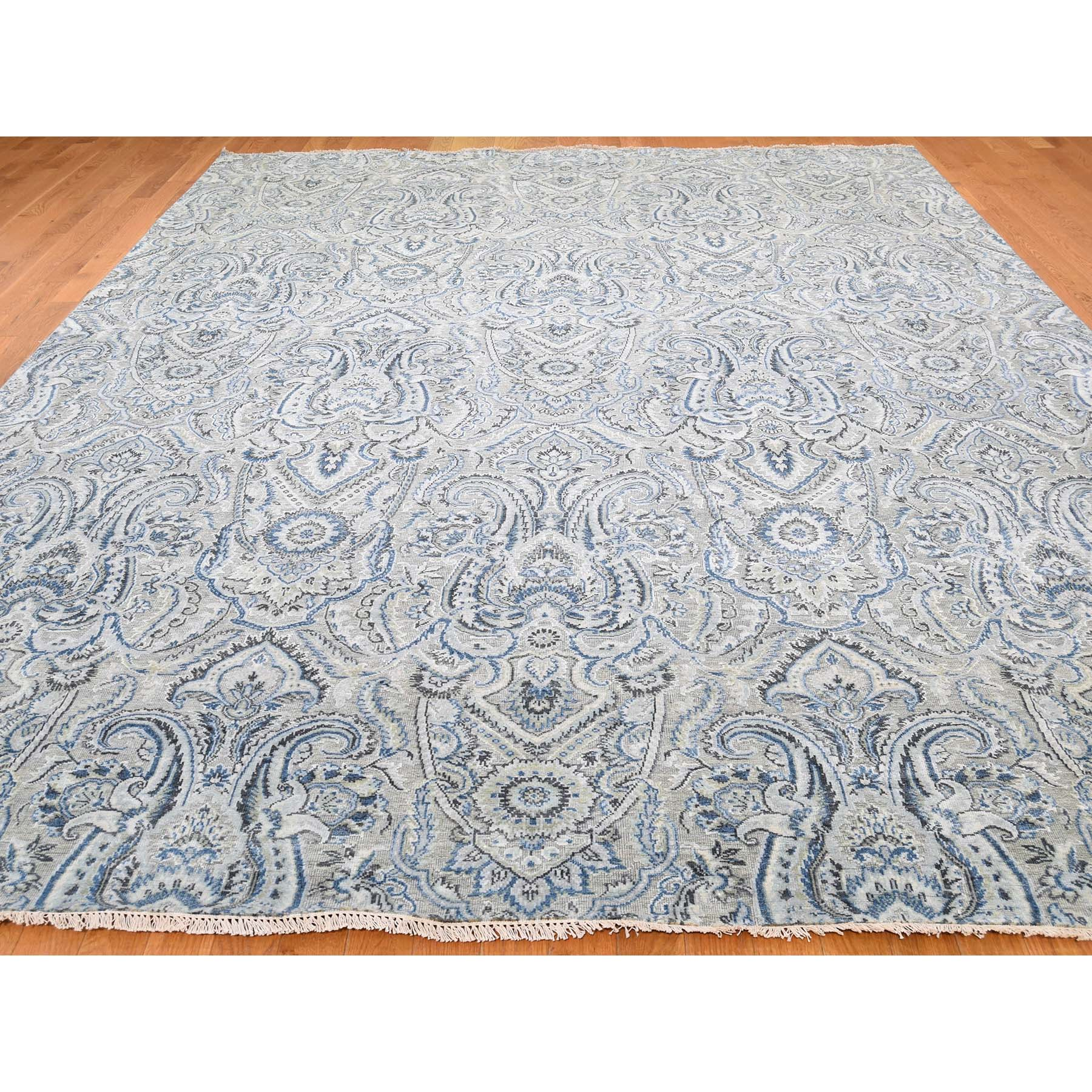 9-x12-1  Pure Silk Oxidized Wool Paisley Flower Design Hand-Knotted Rug