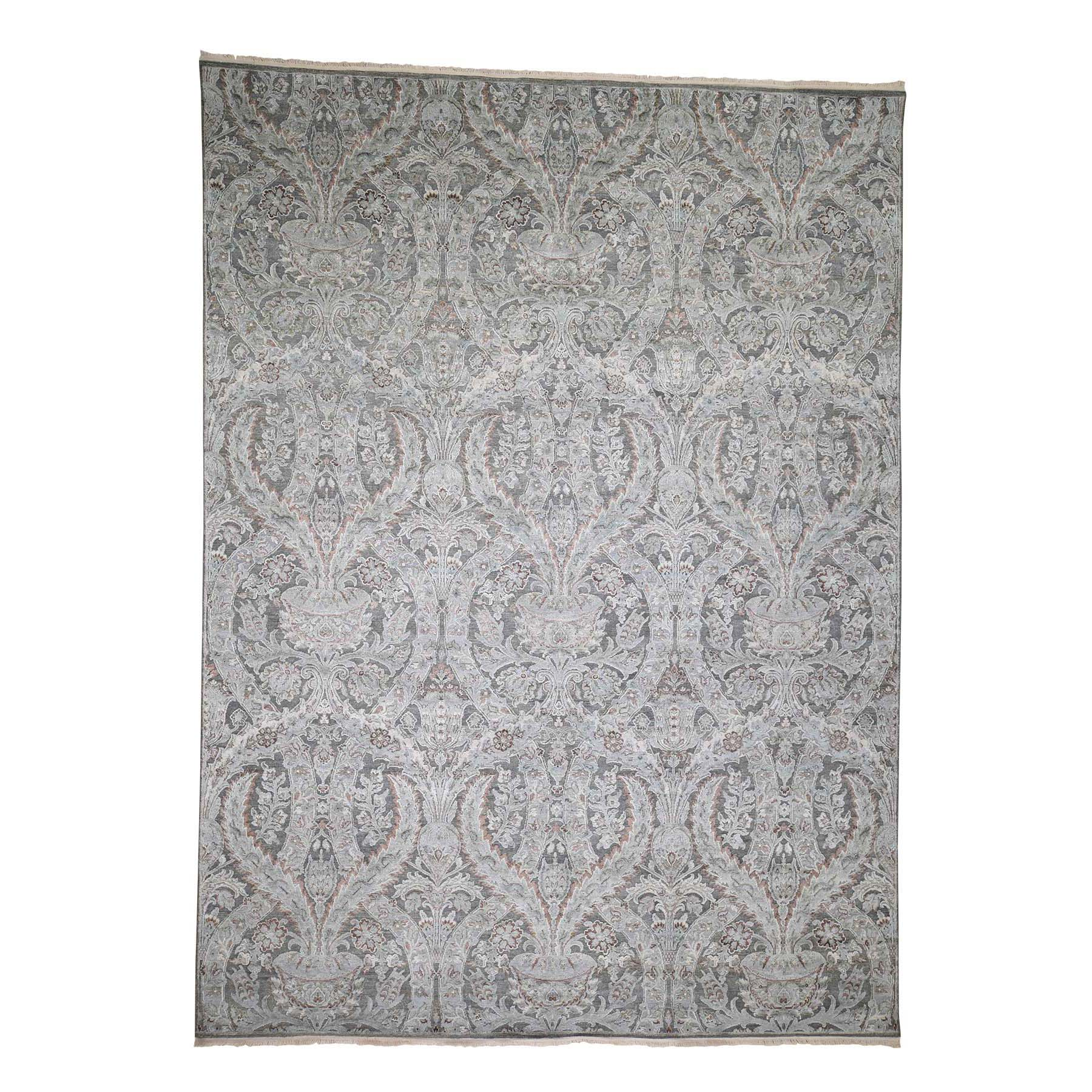 "9'x12'2"" Mughal Design Pure Silk With Textured Wool Hand-Knotted Oriental Rug"