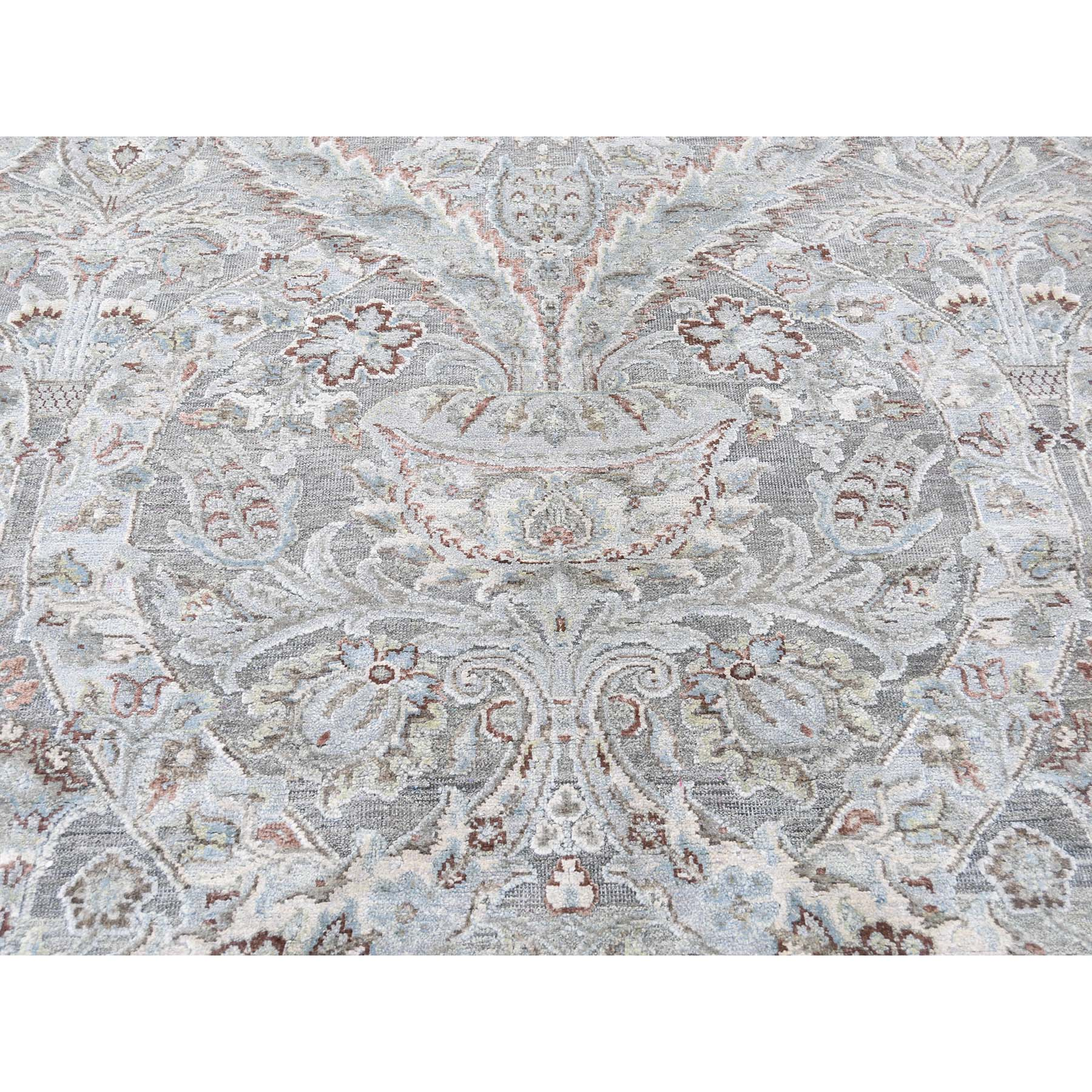 9-x12-2  Mughal Design Pure Silk With Oxidized Wool Hand-Knotted Oriental Rug
