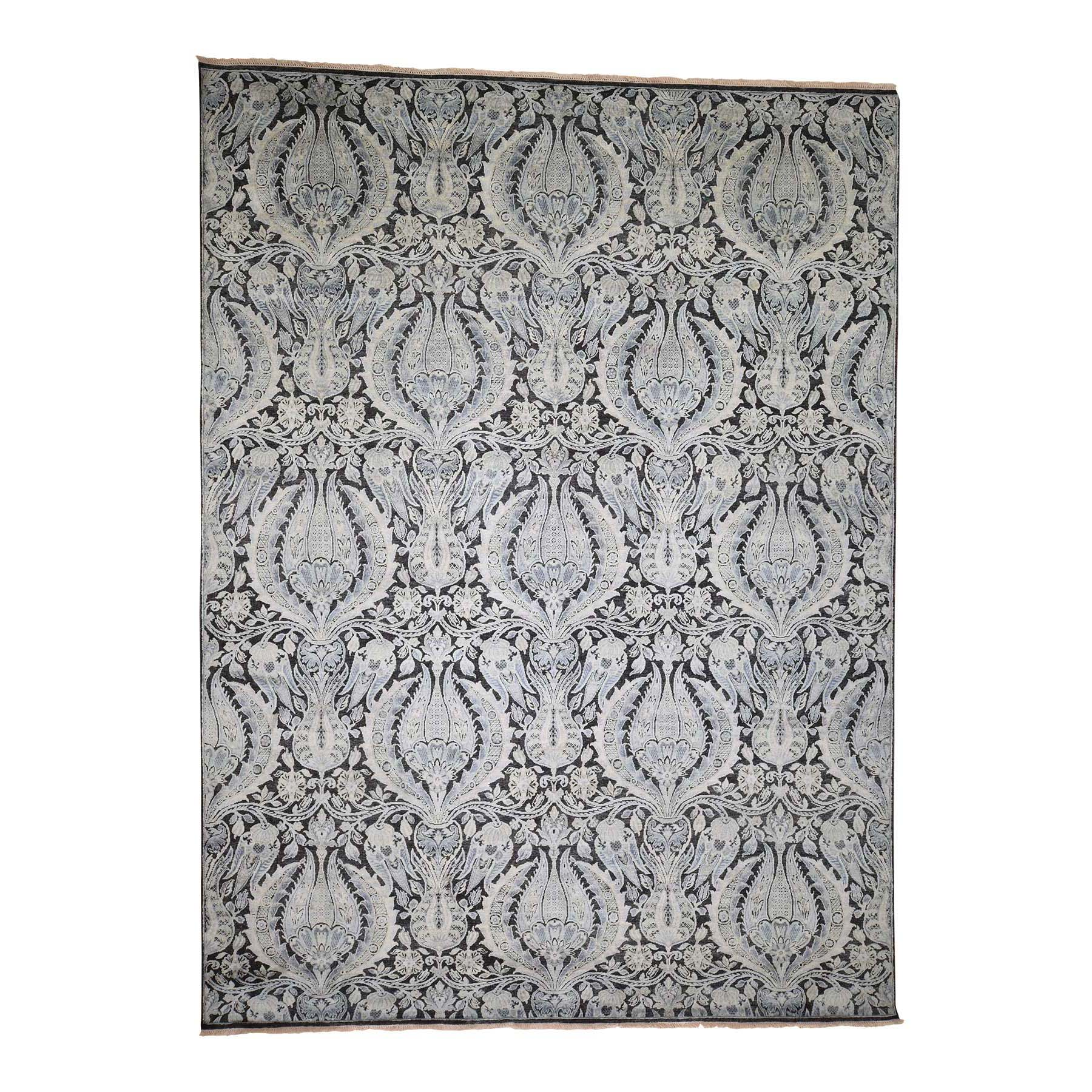 "9'X12'2"" Pure Silk With Textured Wool Lotus Flower Design Hand-Knotted Rug moadad86"