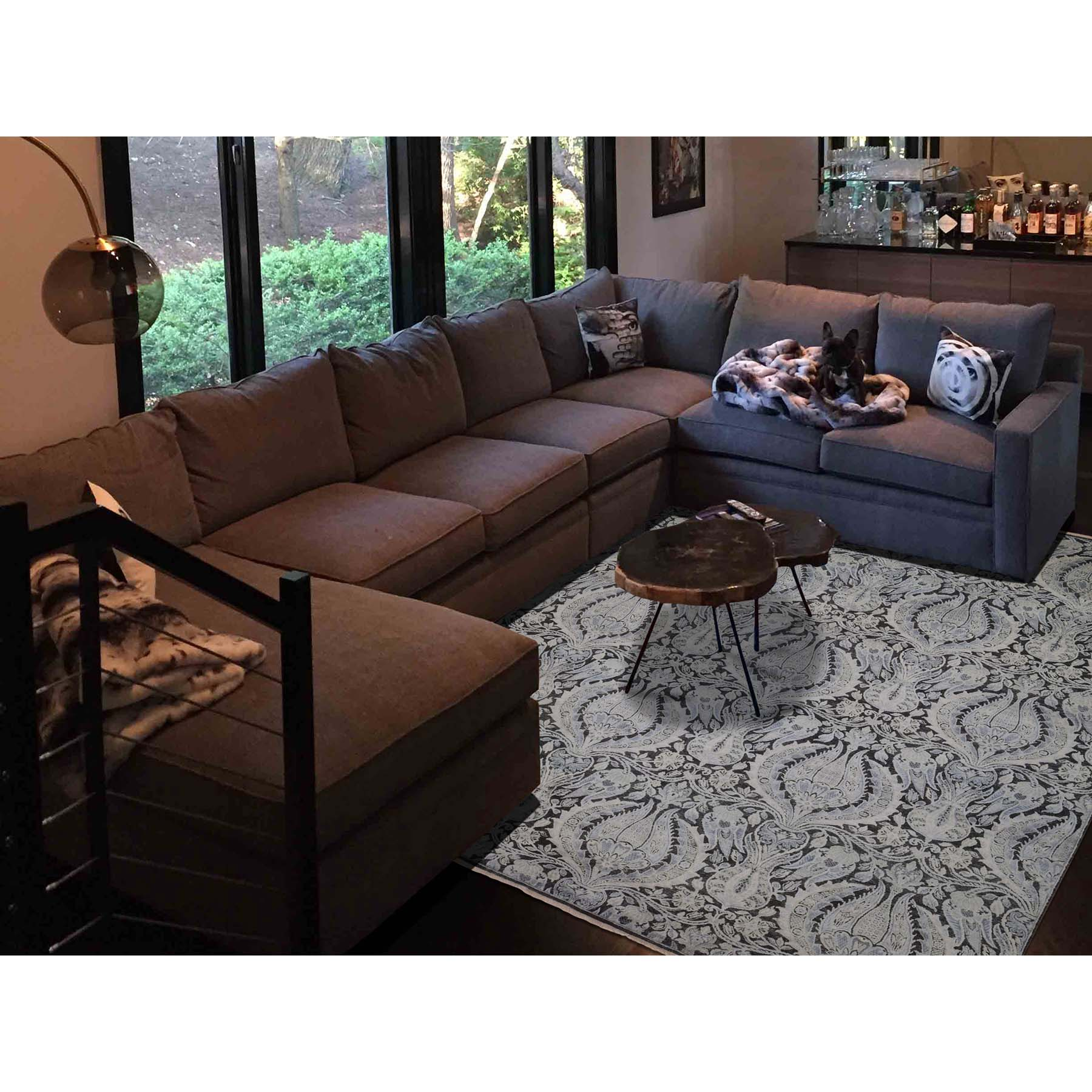 9-x12-2  Pure Silk With Oxidized Wool Lotus Flower Design Hand-Knotted Rug