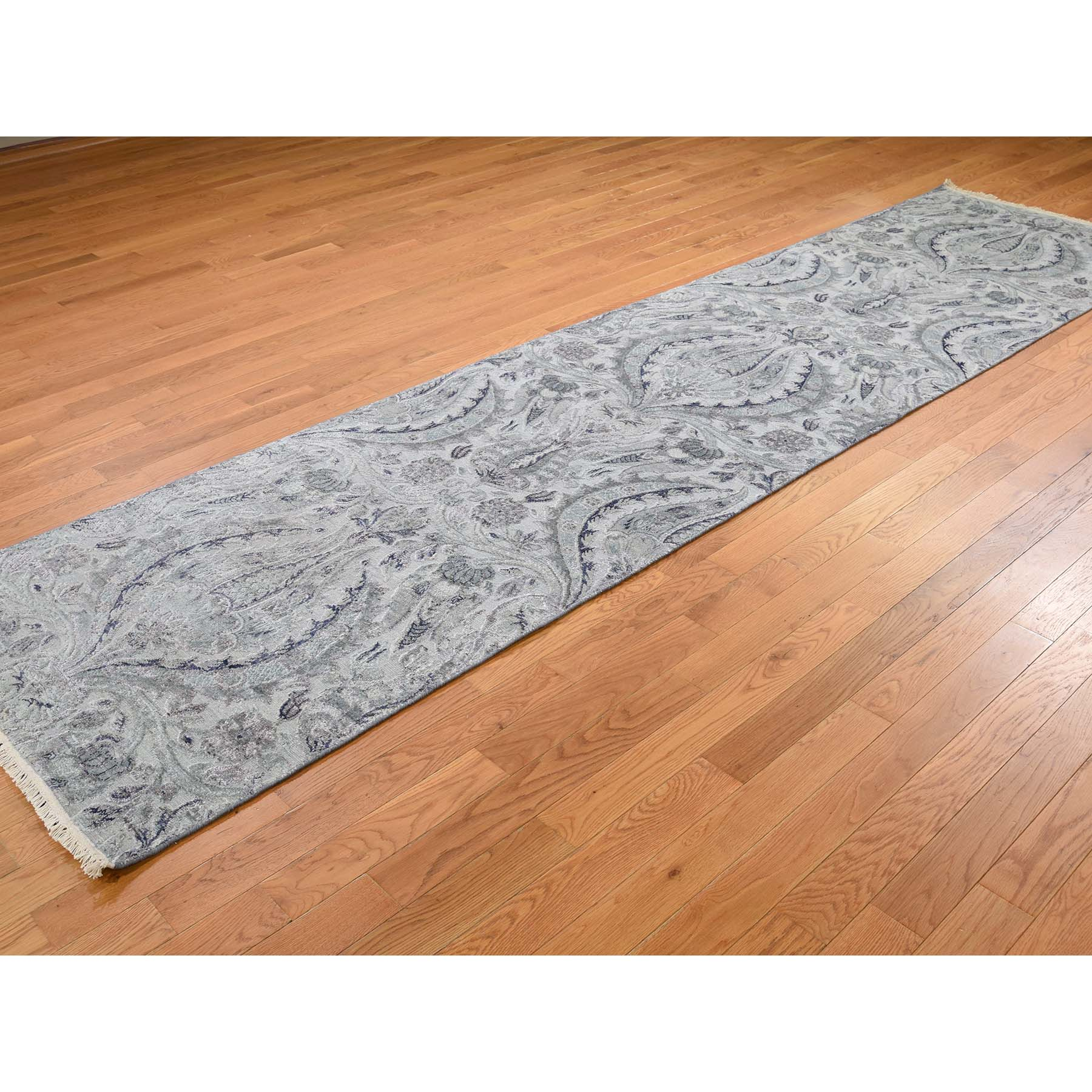 3-x11-10  Pure Silk With Oxidized Wool Lotus Flower Design Hand-Knotted Rug