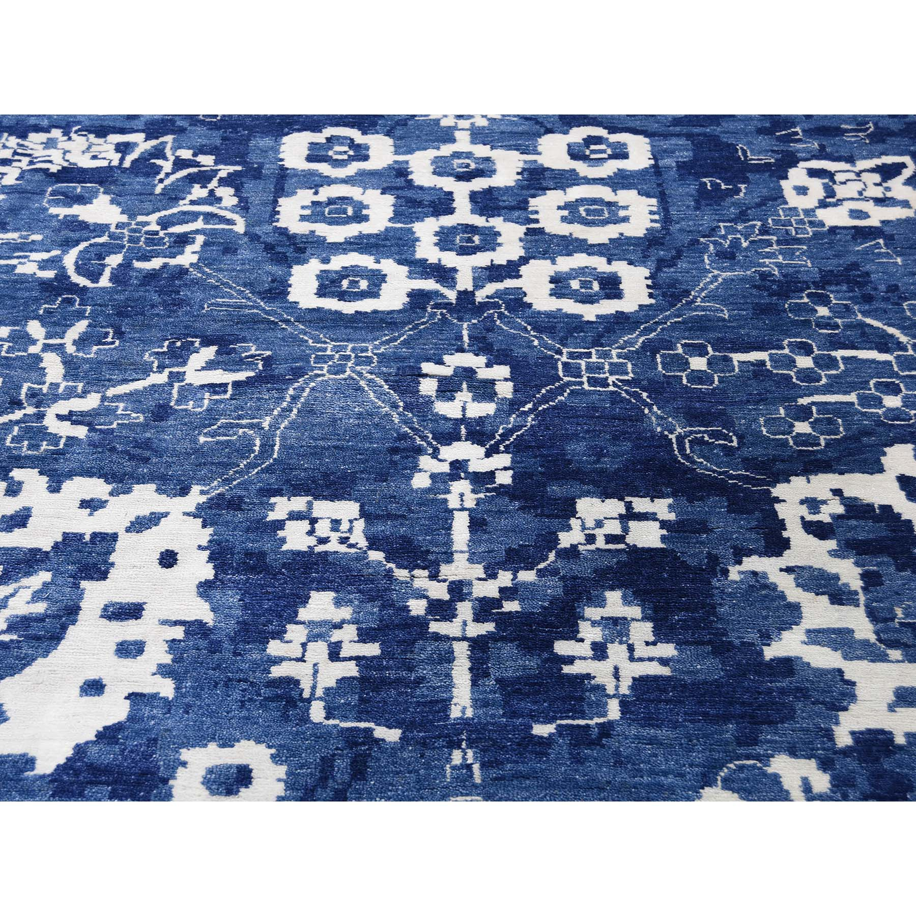 12-x15-2  Hand-Knotted Wool and Silk Tone on Tone Tabriz Oversize Oriental Rug