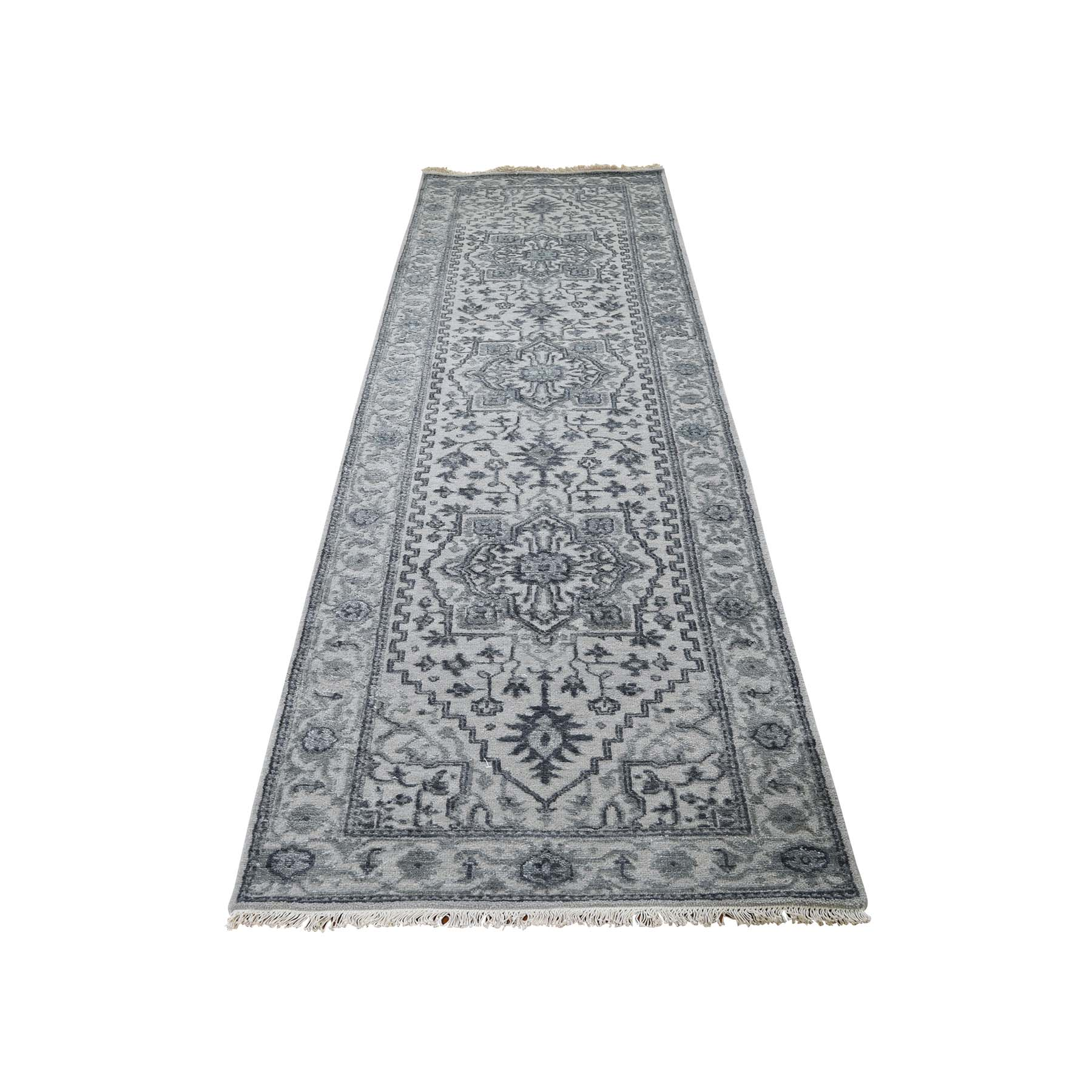 "2'7""X10' Wool And Silk Heriz Design Grey Hand-Knotted Runner Oriental Rug moadaeac"