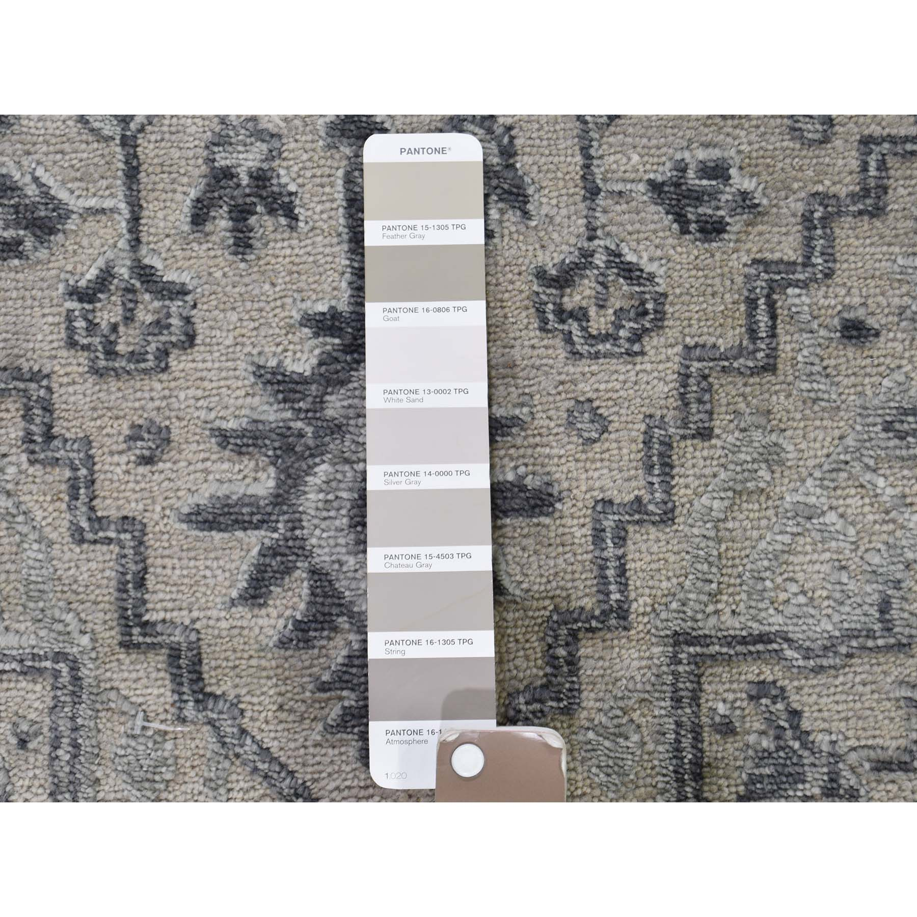 2-7 x10- Wool And Silk Heriz Design Grey Hand-Knotted Runner Oriental Rug