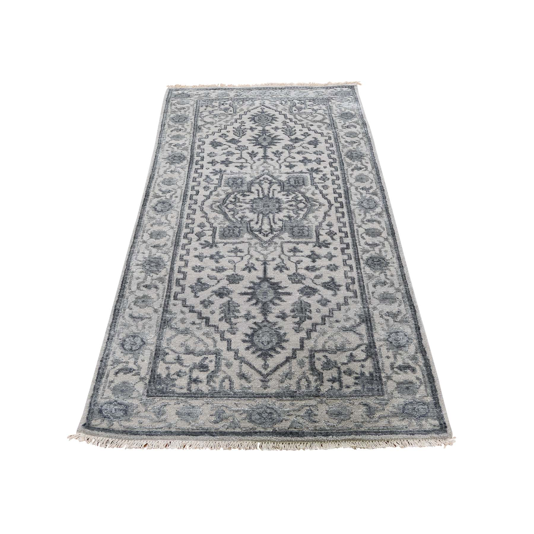 "2'6""X6'1"" Wool And Silk Heriz Design Grey Hand-Knotted Oriental Rug moadaea8"