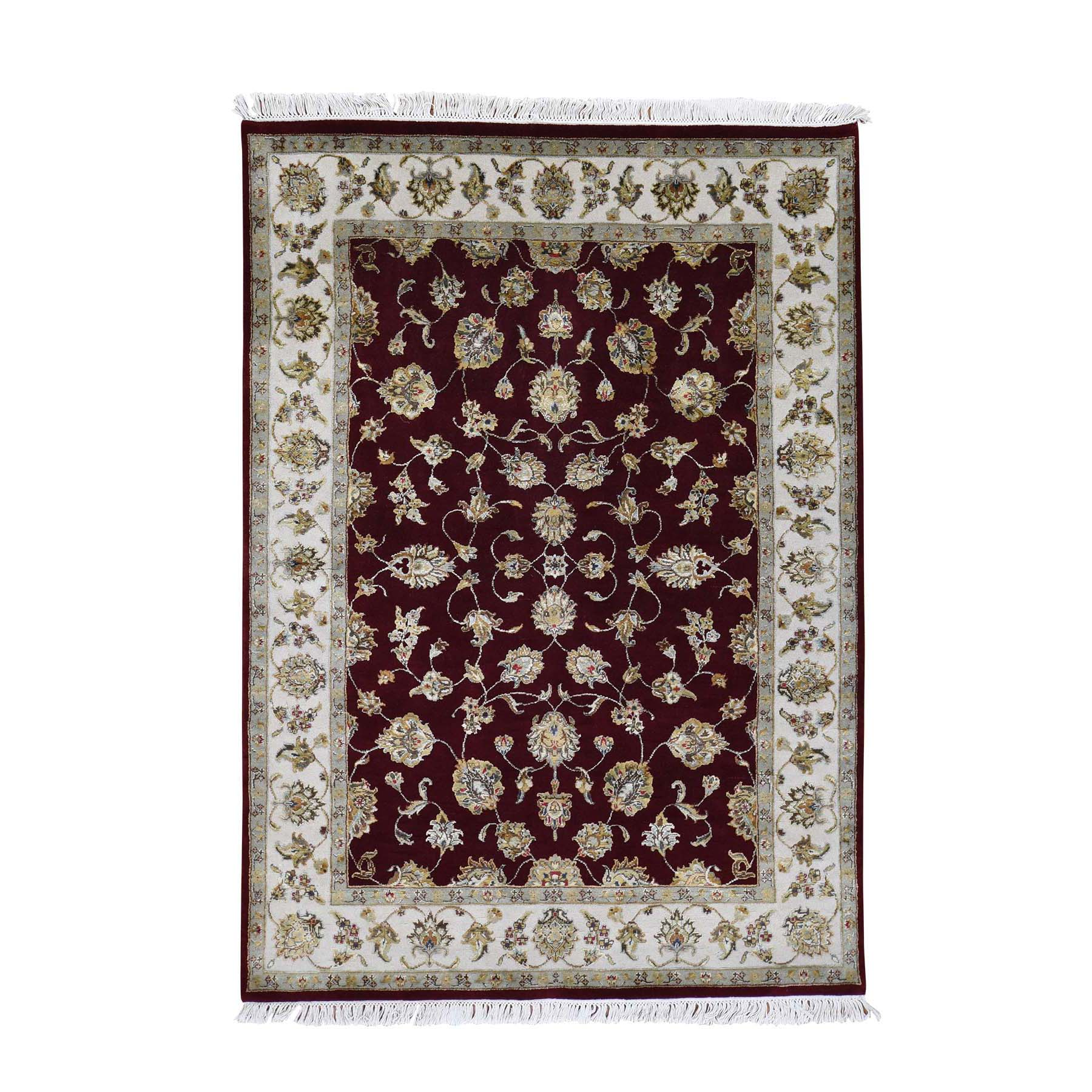 "5'1""x7'1"" Rajasthan  Wool And Silk Hand-Knotted Oriental Rug"