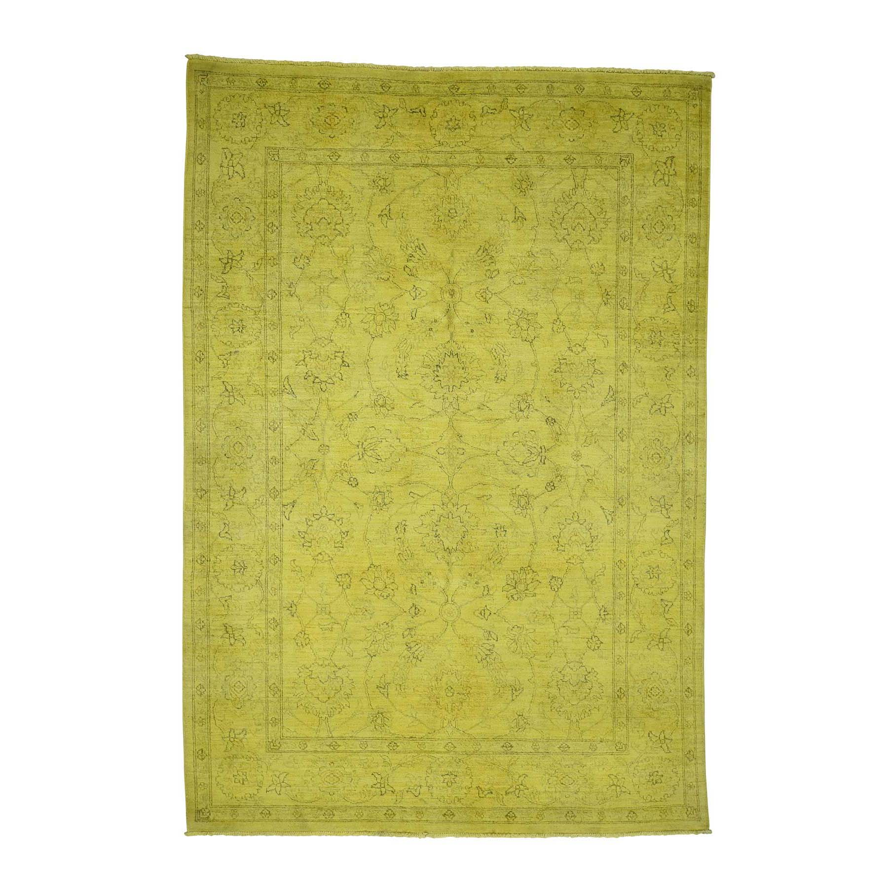 "5'8""X8'2"" Overdyed Mahal Not Worn Yellow Hand-Knotted Pure Wool Oriental Rug moadae8b"