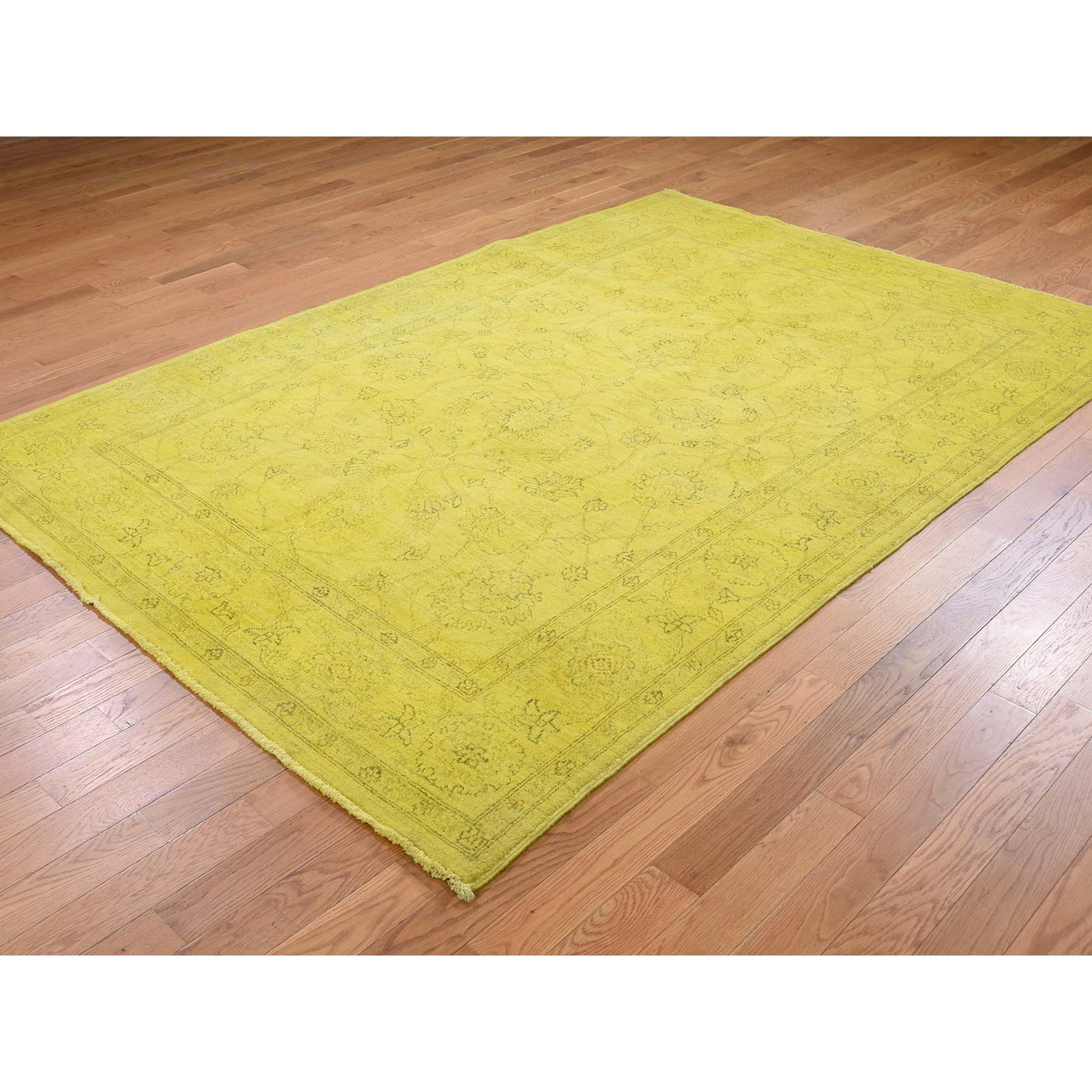 5-8 x8-2  Overdyed Mahal Not Worn Yellow Hand-Knotted Pure Wool Oriental Rug