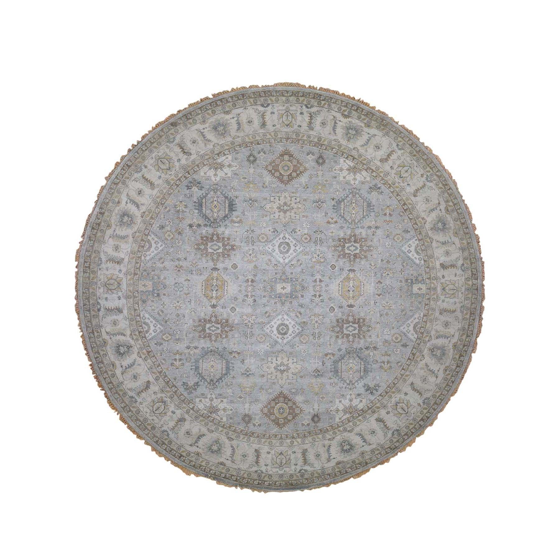 8'X8' Hand-Knotted Karajeh 100 Percent Wool Oriental Round Rug moada6b8