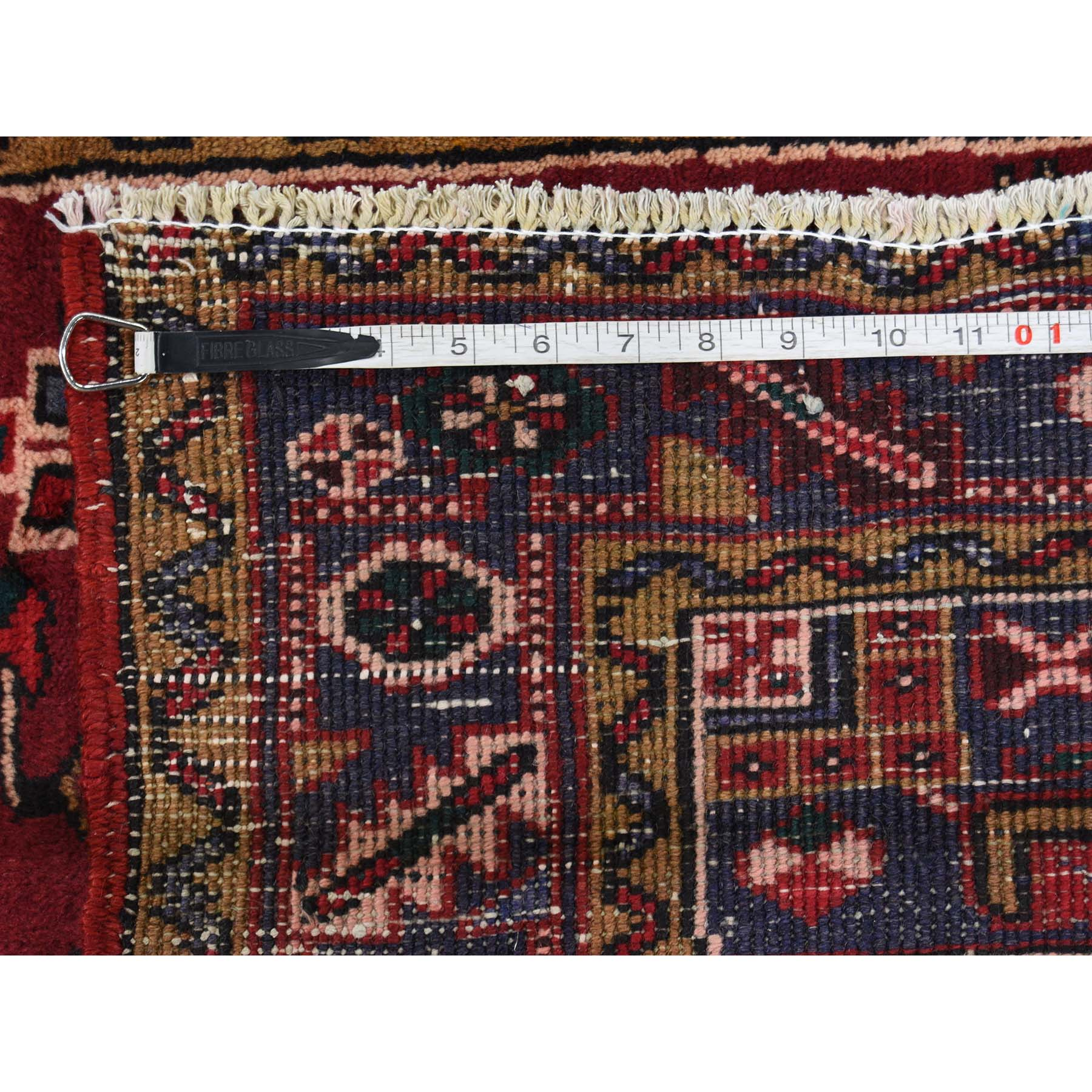 3-8 x8- Old Persian Heriz Hand-Knotted Runner Oriental Rug