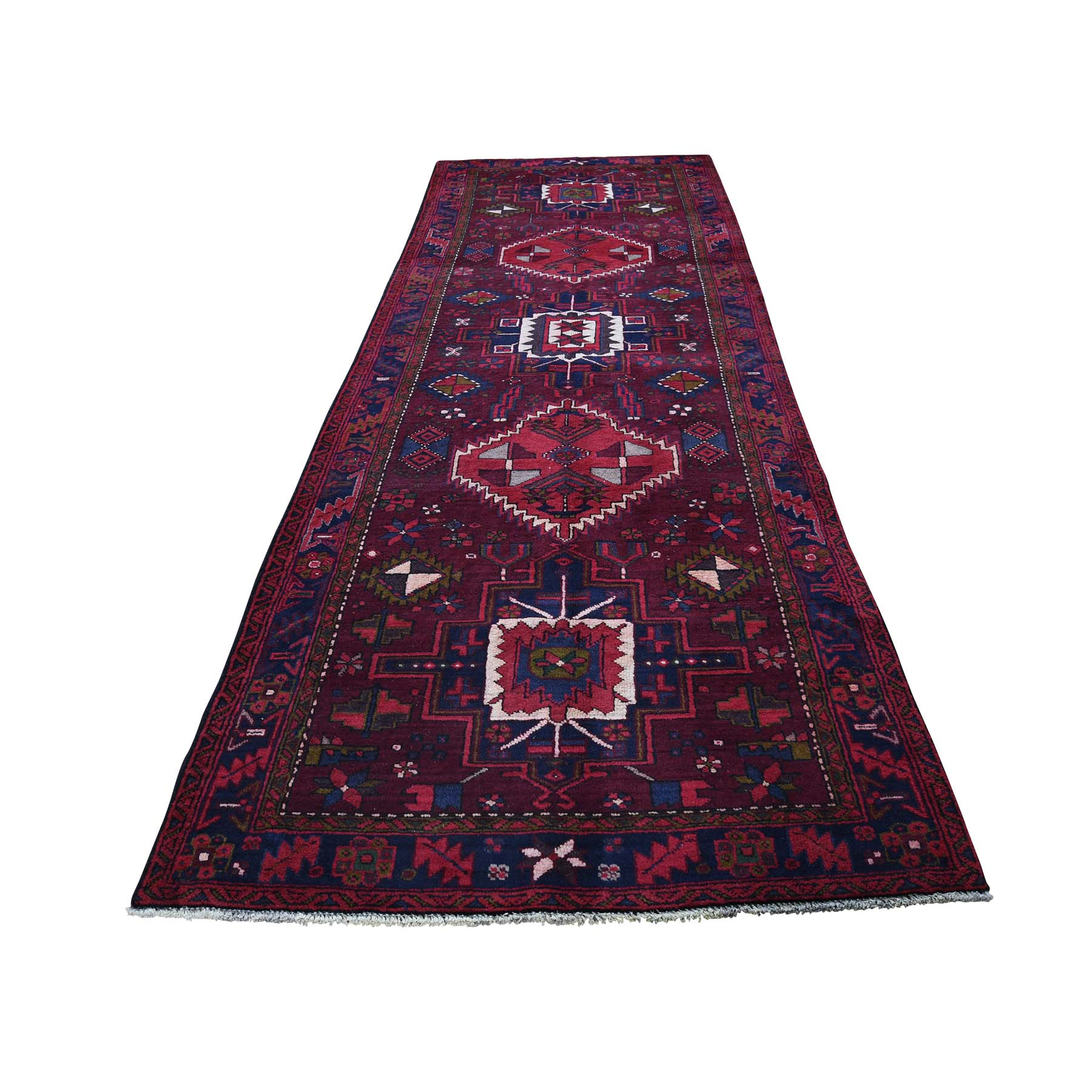 "3'10""X11'6"" Tribal Persian Heriz Pure Wool Hand-Knotted Wide Runner Oriental Rug moada6de"