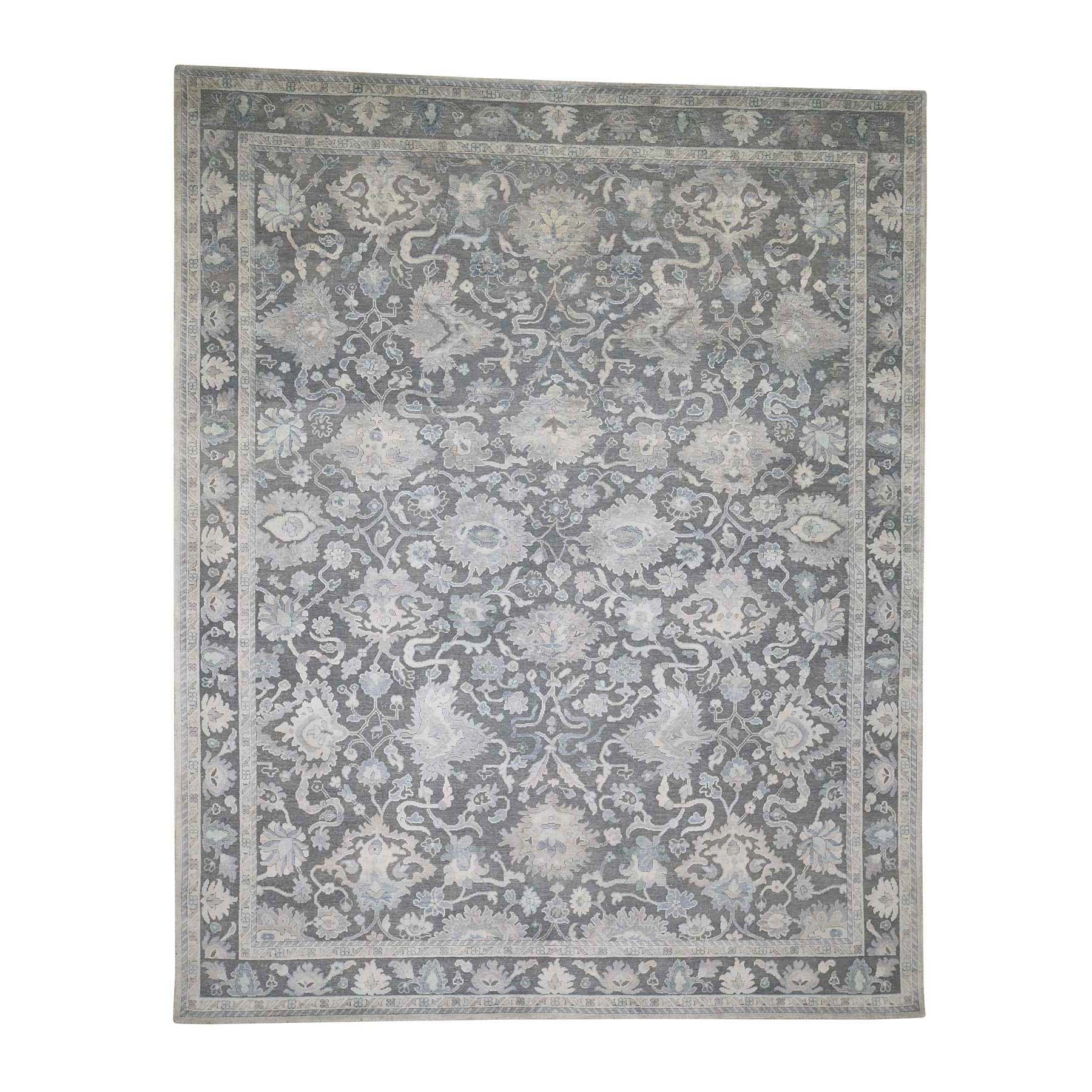 8-1 x10- Hand-Knotted Oushak Influence Silk Oxidized Wool Oriental Rug