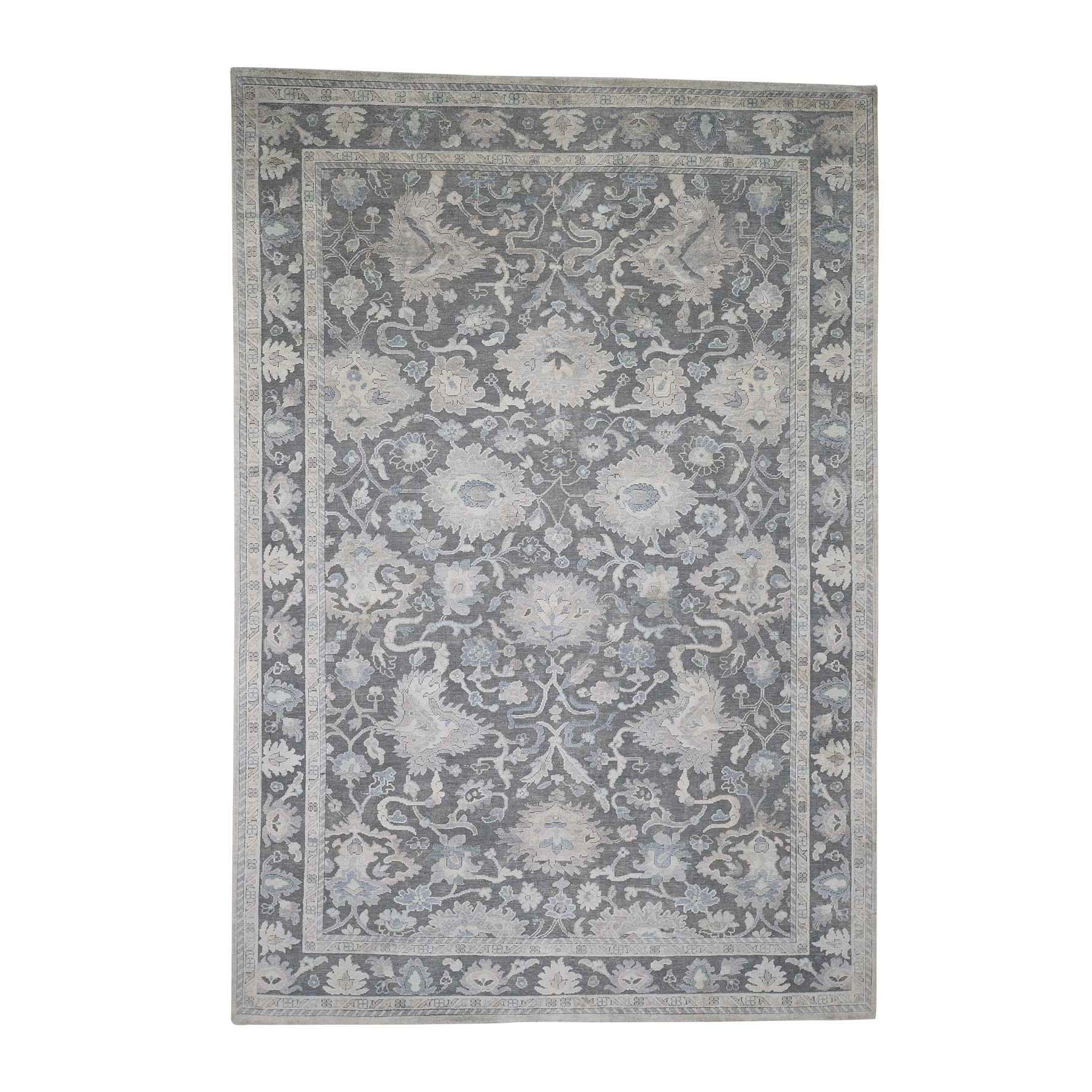 "6'1""x8'9"" Hand-Knotted Oushak Influence Silk Textured Wool Oriental Rug"