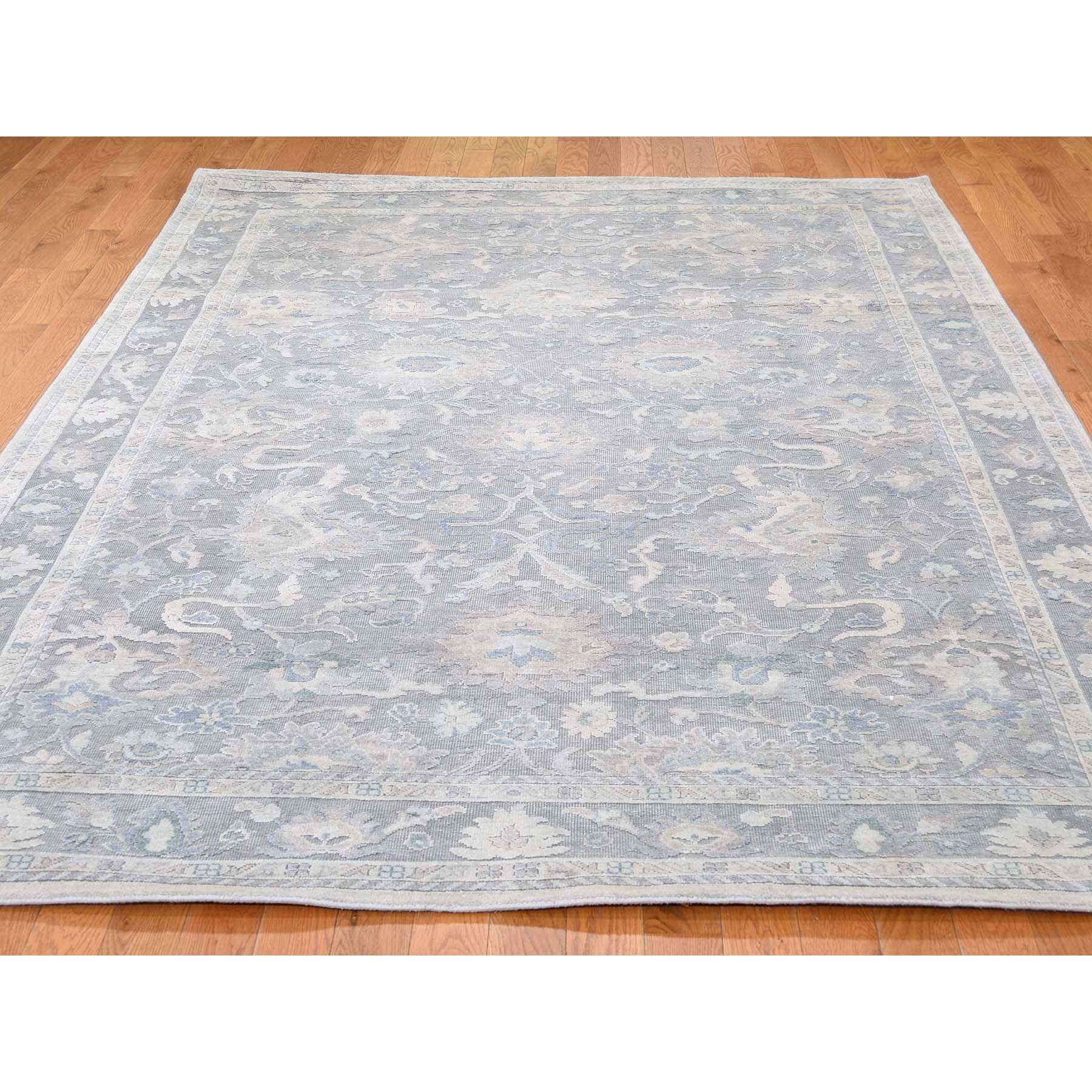 6-1 x8-9  Hand-Knotted Oushak Influence Silk Oxidized Wool Oriental Rug