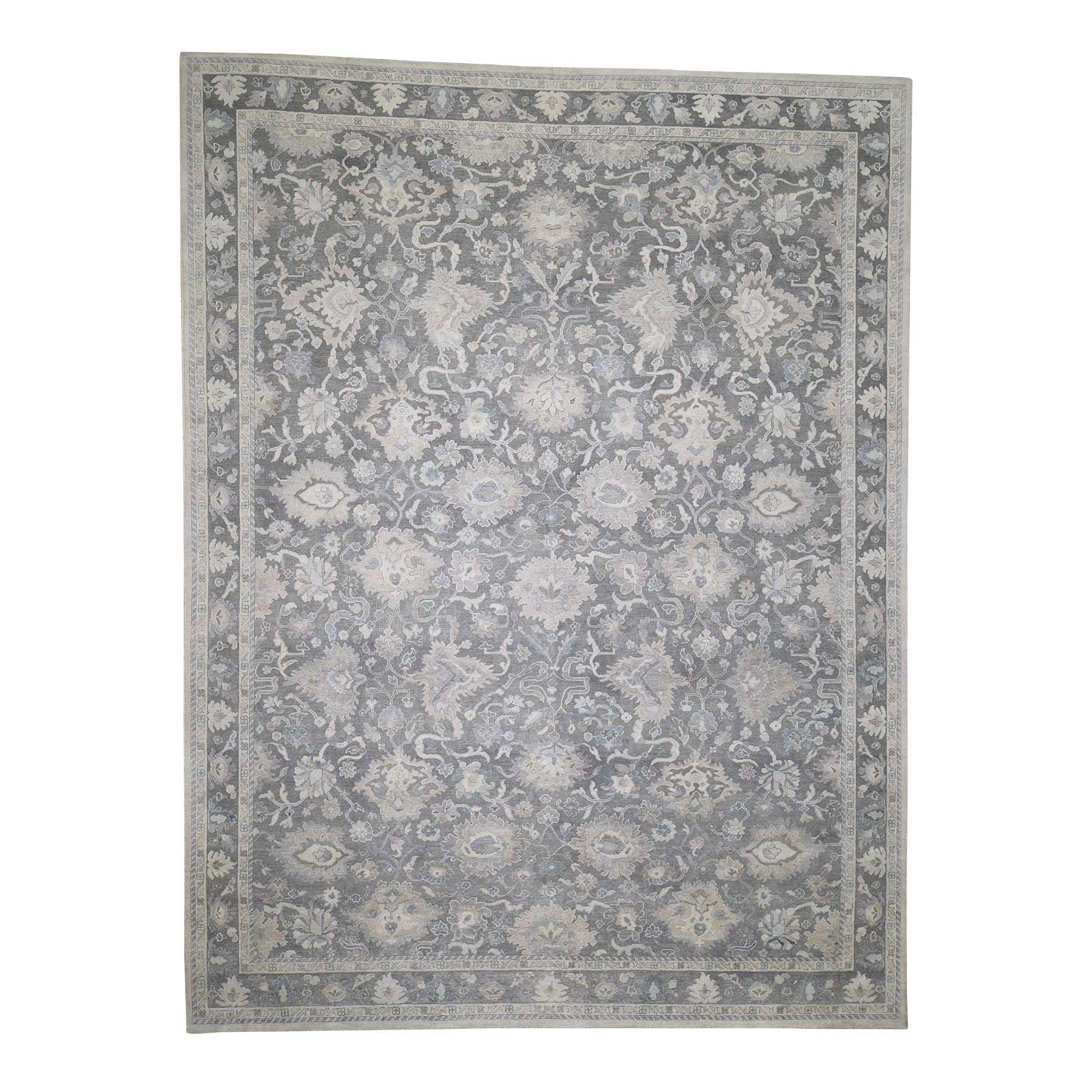9'x12' Hand-Knotted Oushak Influence Pure Silk With Textured Wool Oriental Rug