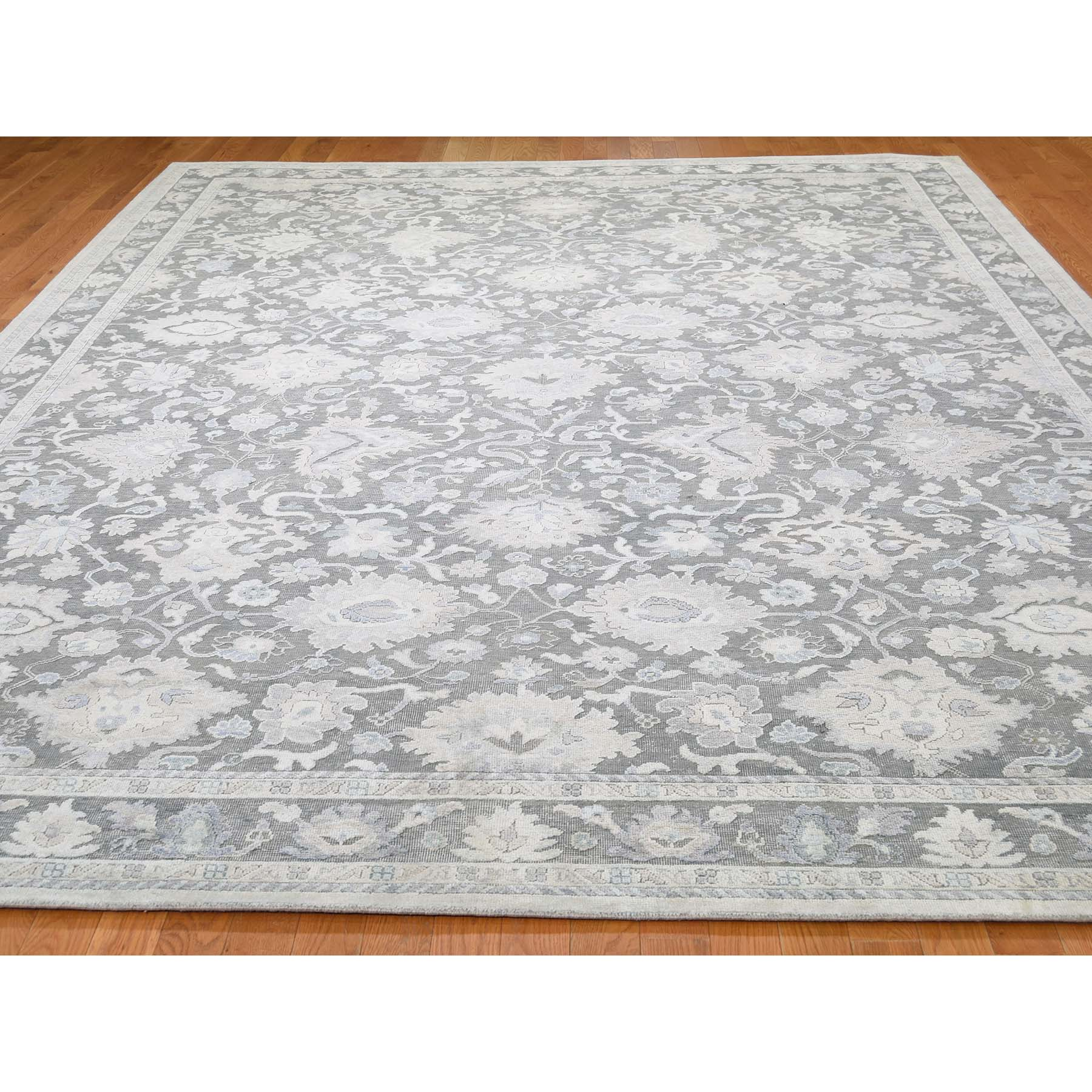 9-x12- Hand-Knotted Oushak Influence Pure Silk With Oxidized Wool Oriental Rug