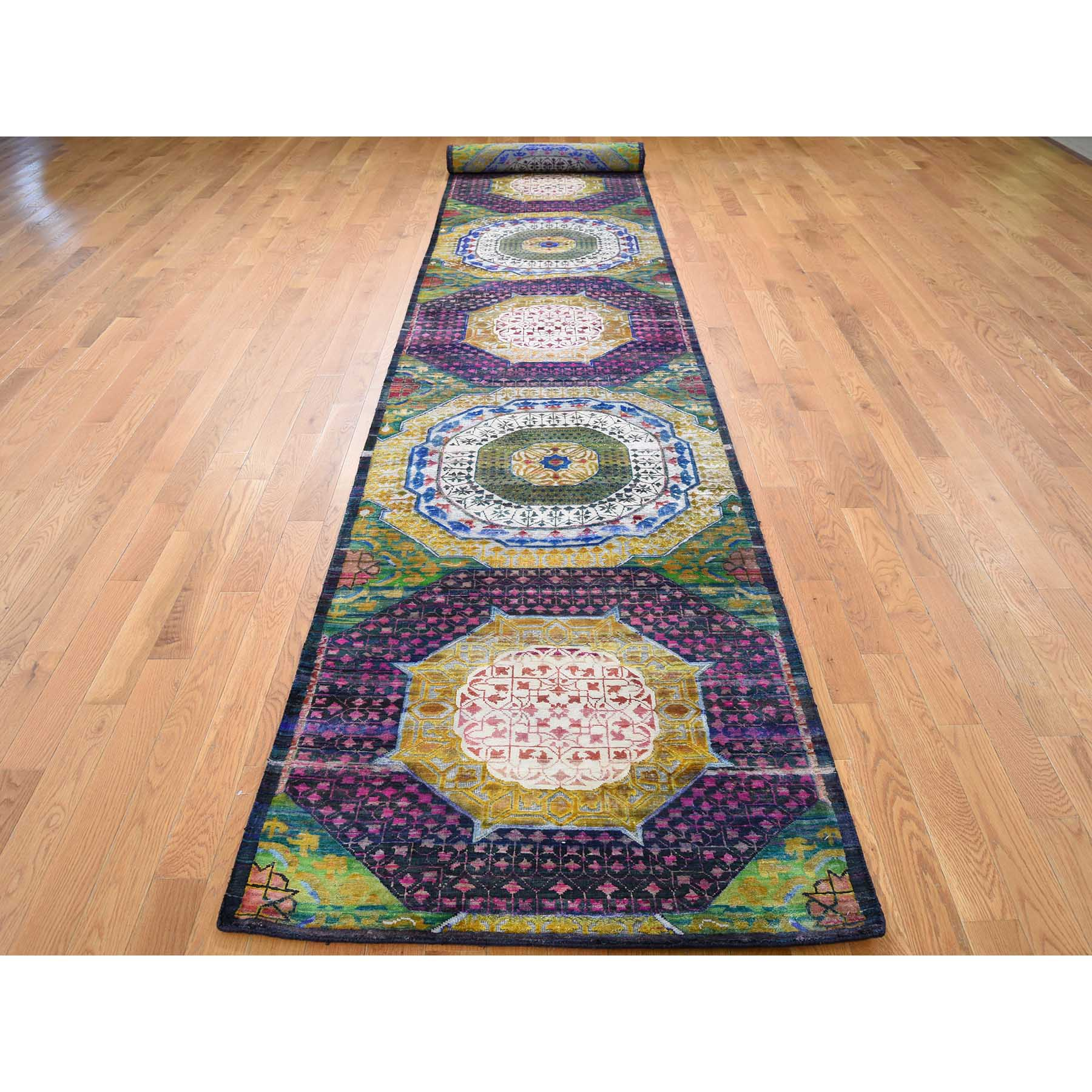 3-1 x19-3  Sari Silk And Oxidized Wool Mamluk Design XL Runner Hand-Knotted Oriental Rug