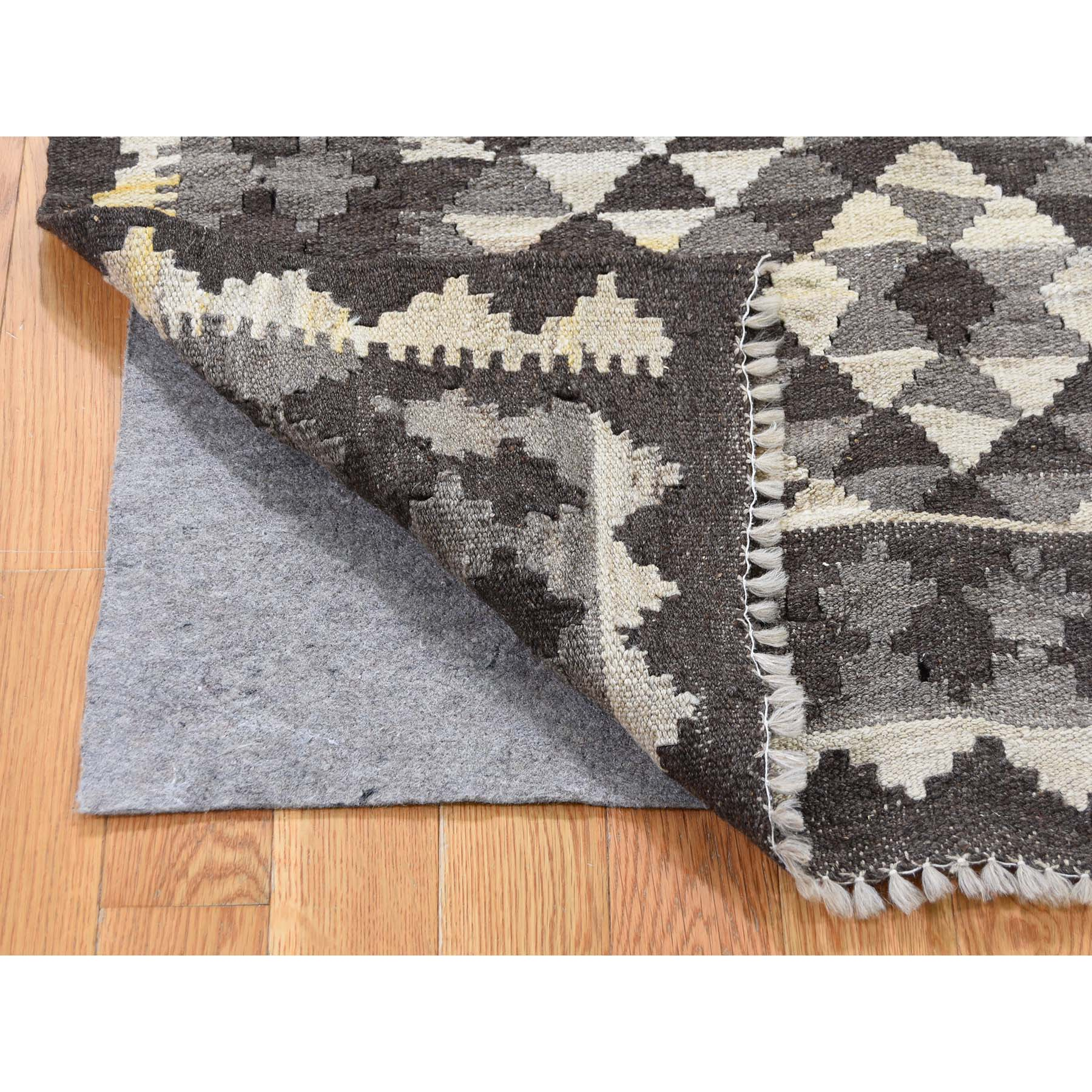 3-4 x5-6  Afghan Kilim Reversible Undyed Natural Wool Hand Woven Oriental Rug